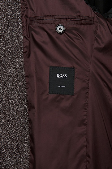 Slim-Fit Tailored Sakko aus Woll-Mix in Bouclé-Optik: 'T-Niklaas', Braun