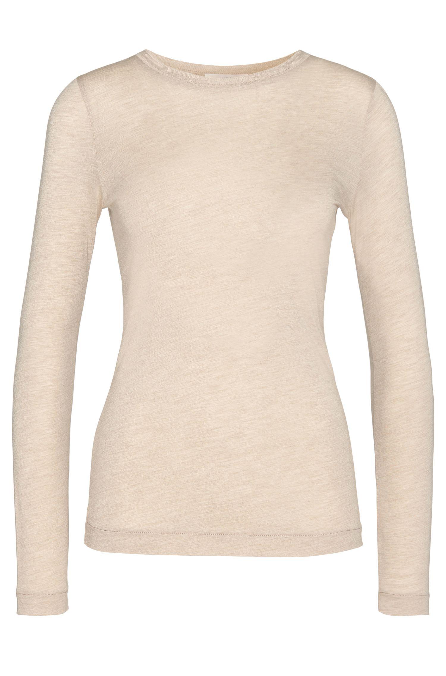 T-shirt uni à manches longues, en viscose mélangée à teneur en cachemire: «Eleya»