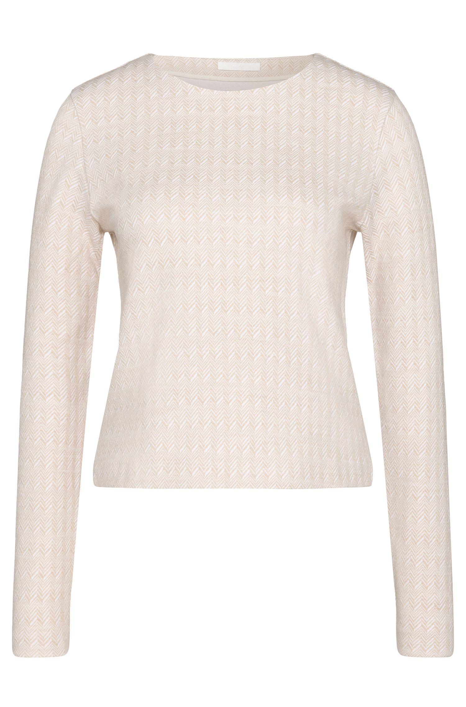 Sweatshirt van een katoenmix met visgraatpatroon: 'Enie'