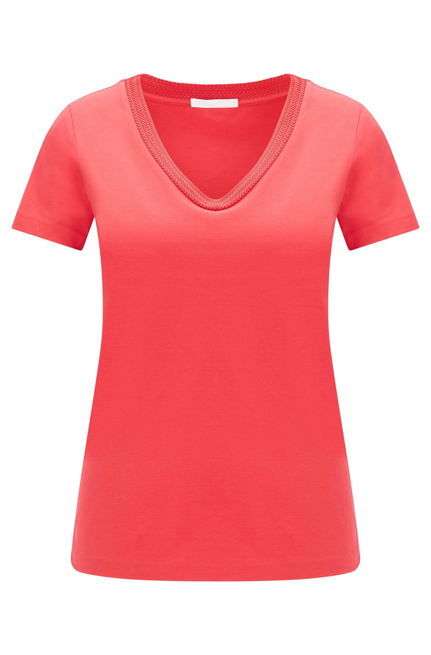 T-shirt sciancrata in cotone elasticizzato: 'Estana'