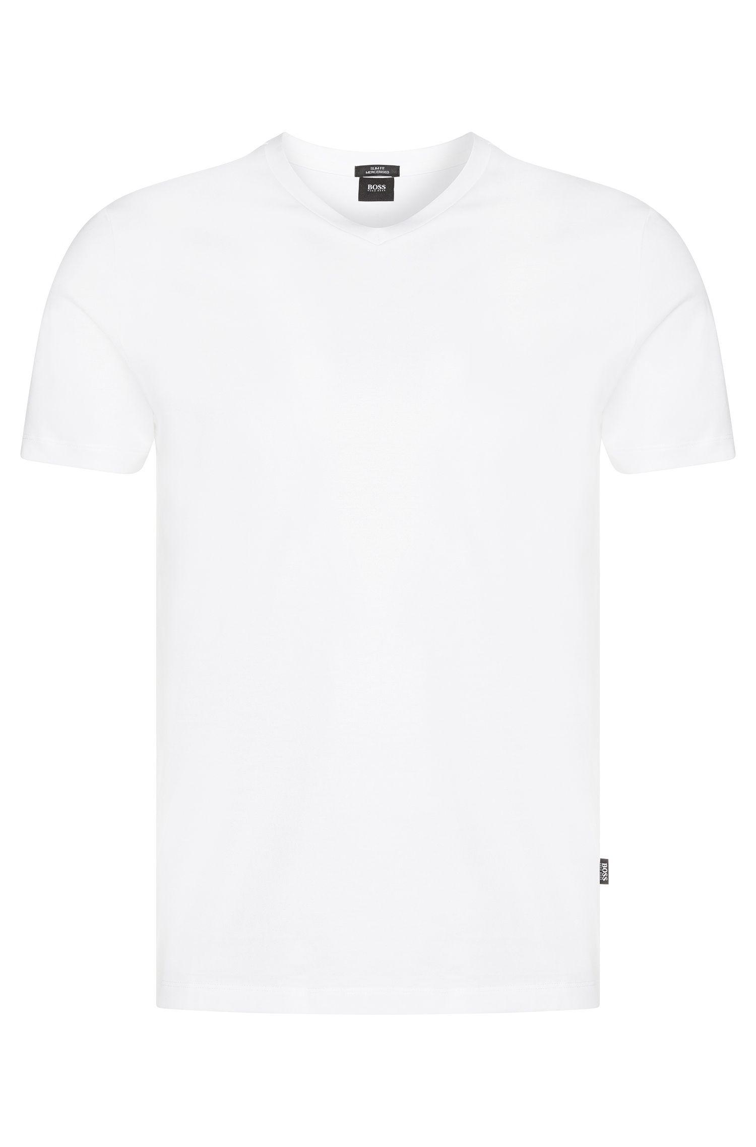 Effen slim-fit T-shirt met V-hals: 'Teal 14'
