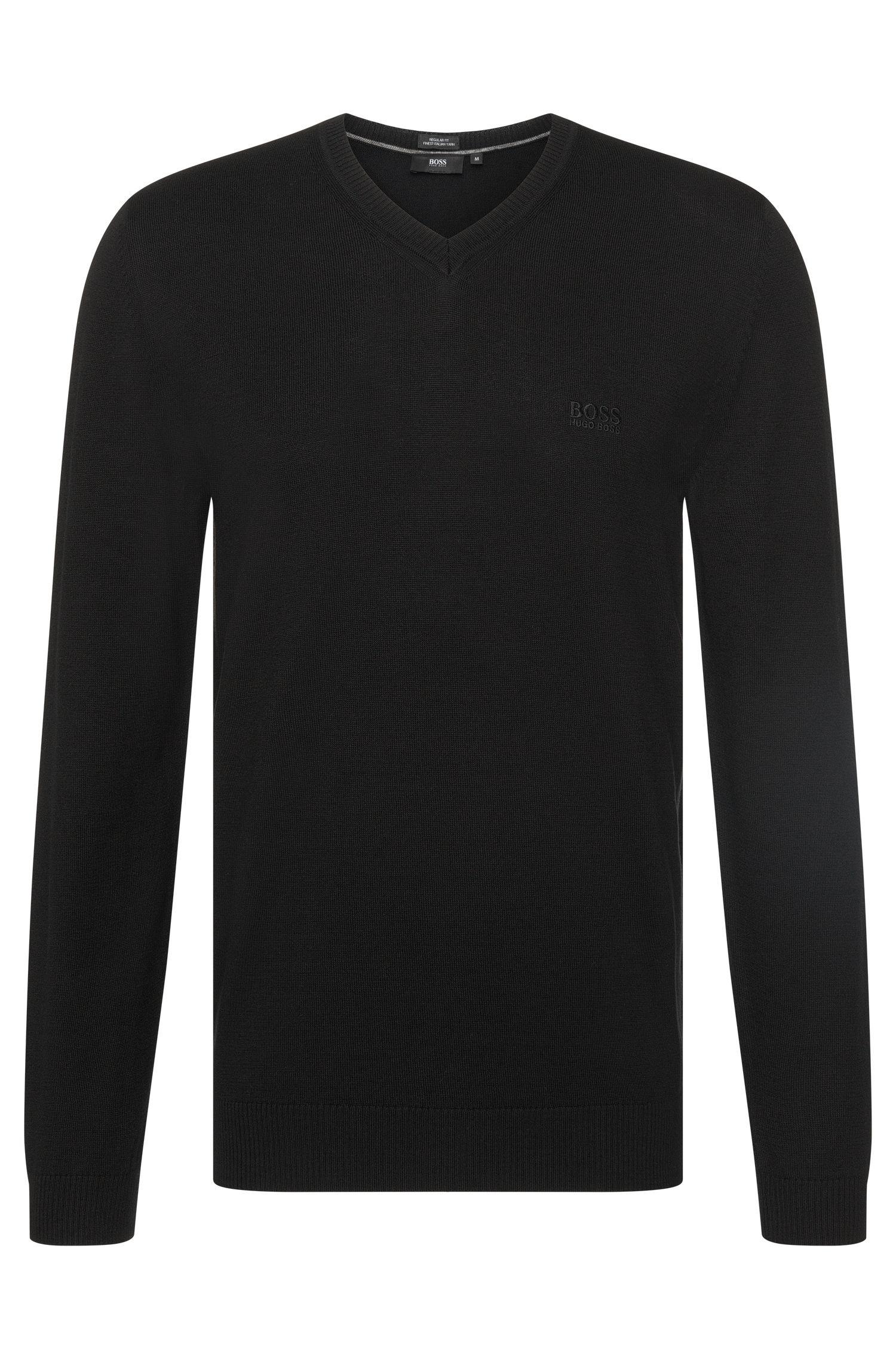Jersey regular en algodón con cuello en pico: 'Filipp-I'