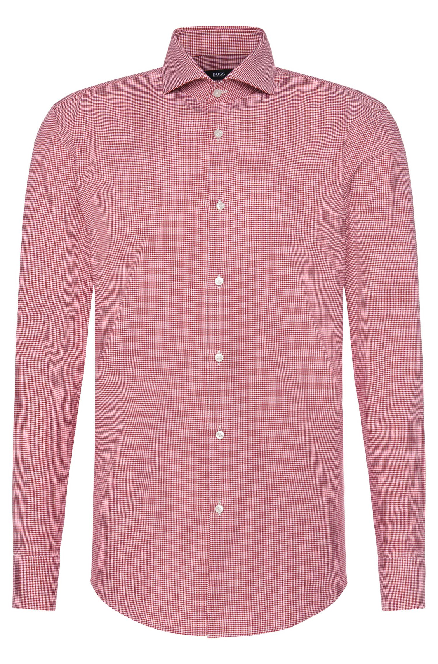 Finely checked slim-fit shirt in cotton: 'Jason'