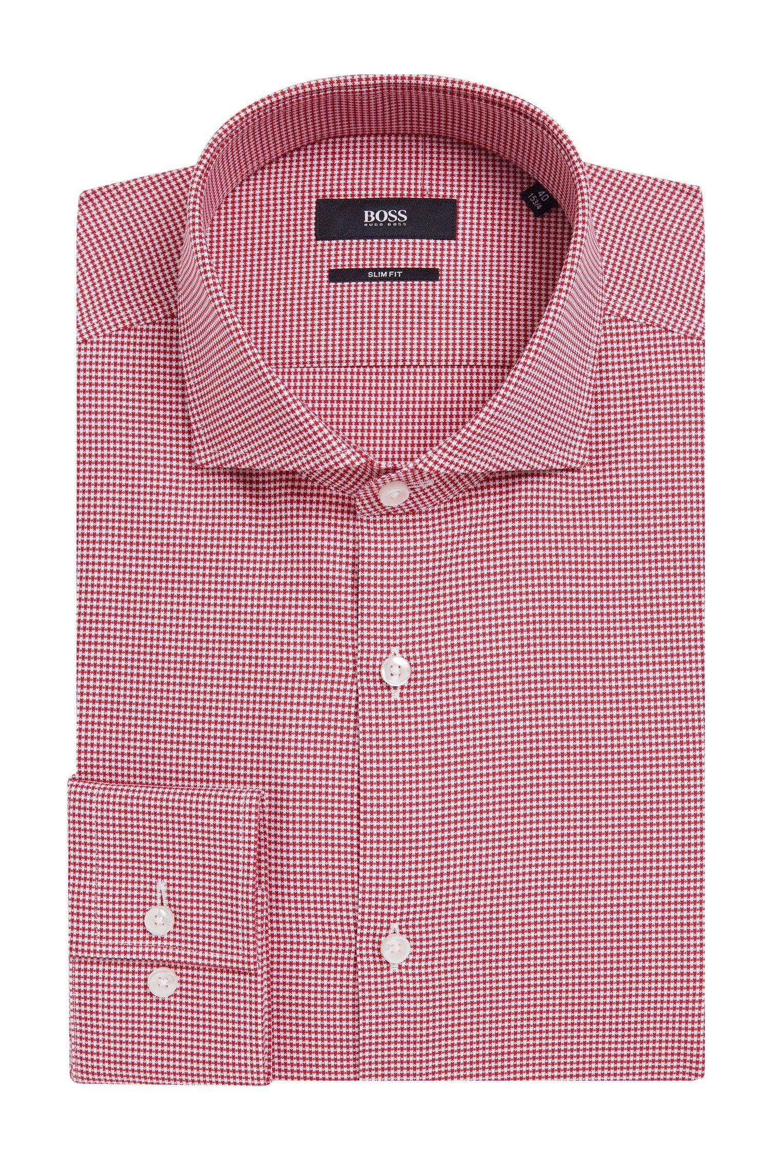 Fijngeruit slim-fit overhemd van katoen: 'Jason'
