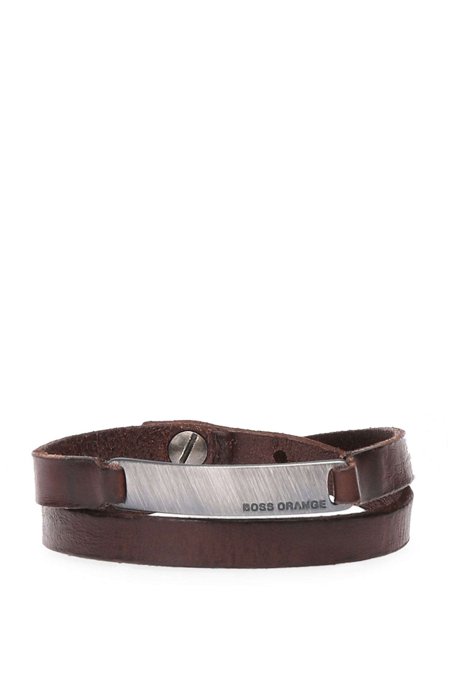 Leather wrap bracelet with small metal plate: 'Merlin'