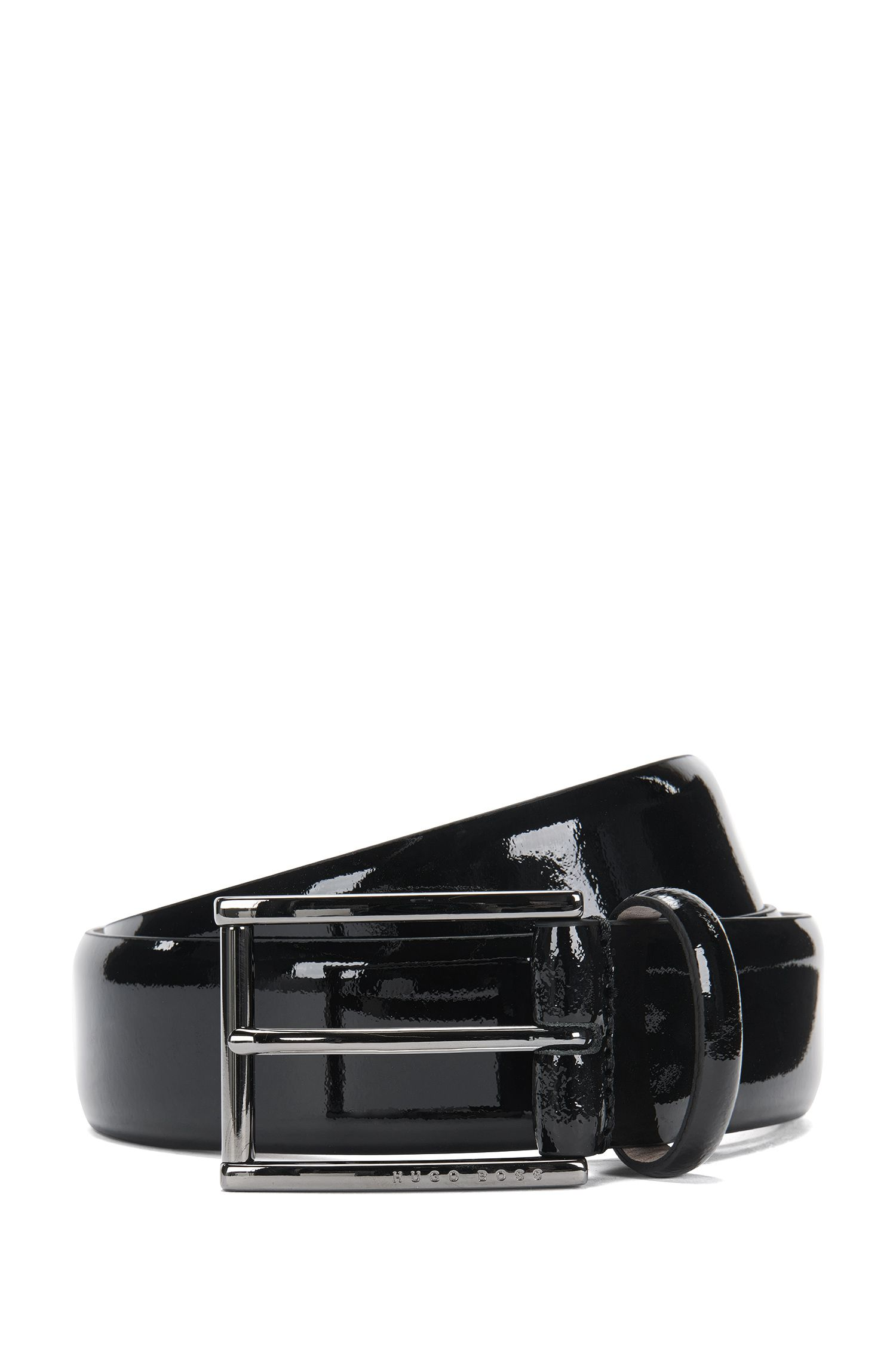 Tailored patent leather belt with nubuck lining: 'T-Lelio_Sz35_pa'