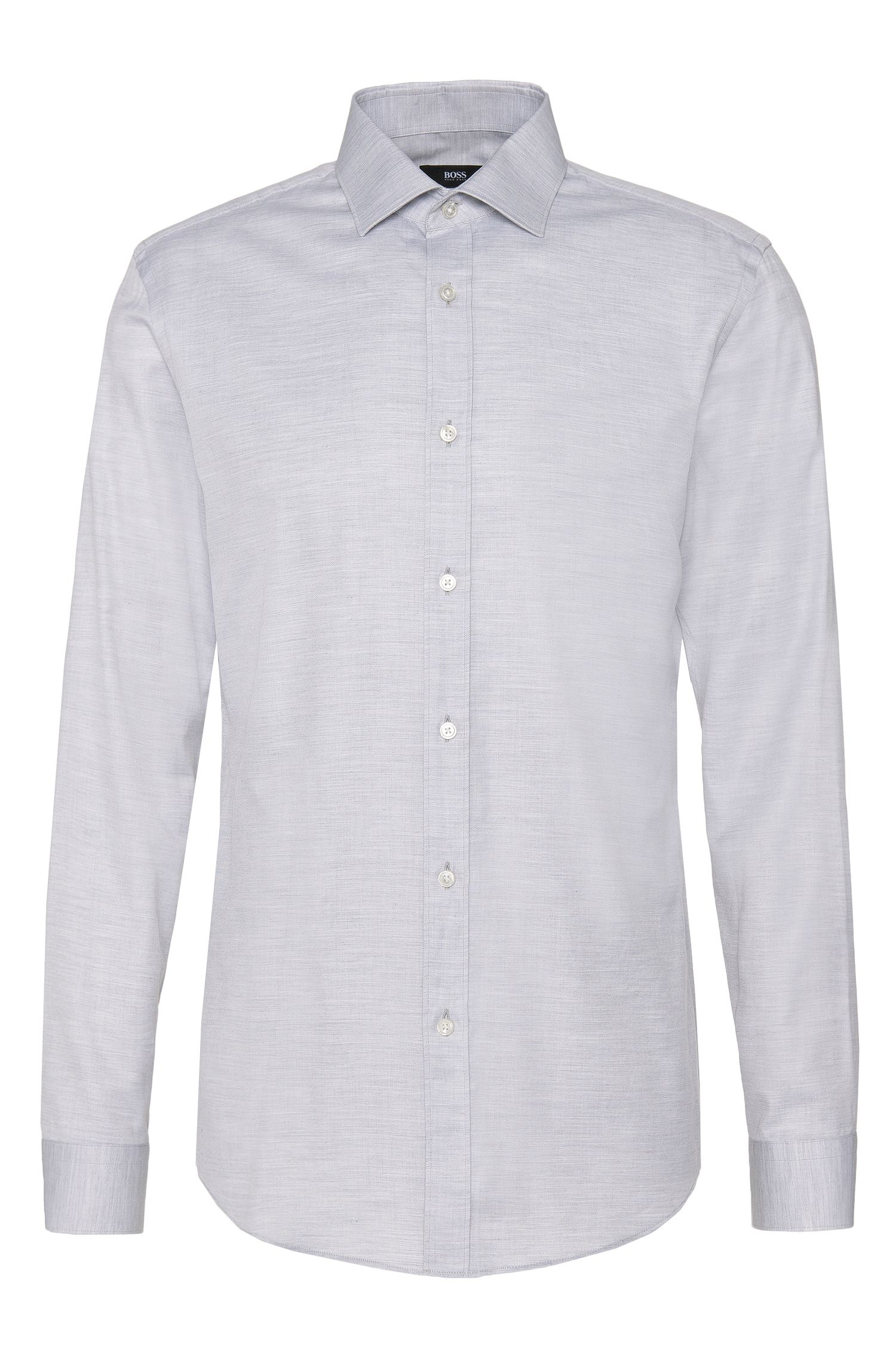 Camicia slim fit in cotone mélange: 'Isaak'
