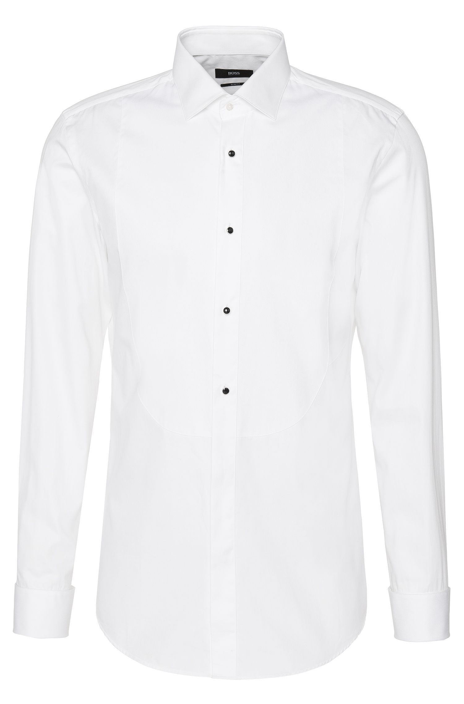Slim-fit shirt in cotton with Ascot tie insert and turn-back cuffs: 'Jant'