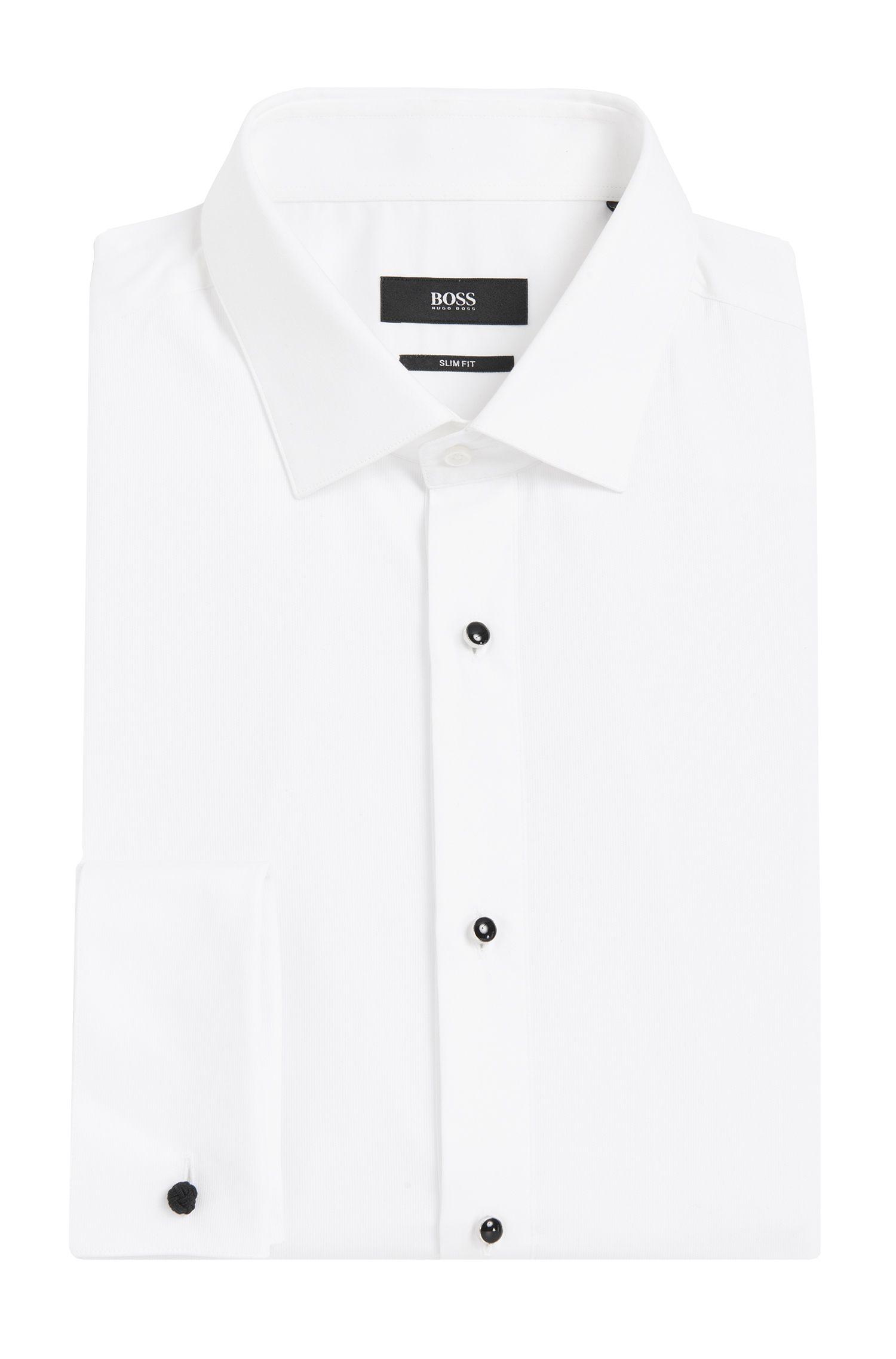 Slim-Fit Hemd aus Baumwolle mit Plastron-Einsatz und Umschlagmanschetten: 'Jant'