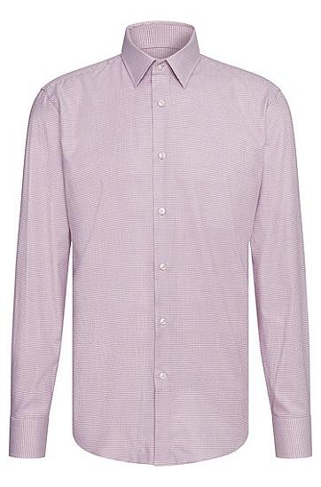 Allover gemustertes Regular-Fit Hemd aus Baumwolle: 'Enzo', Dunkel Lila