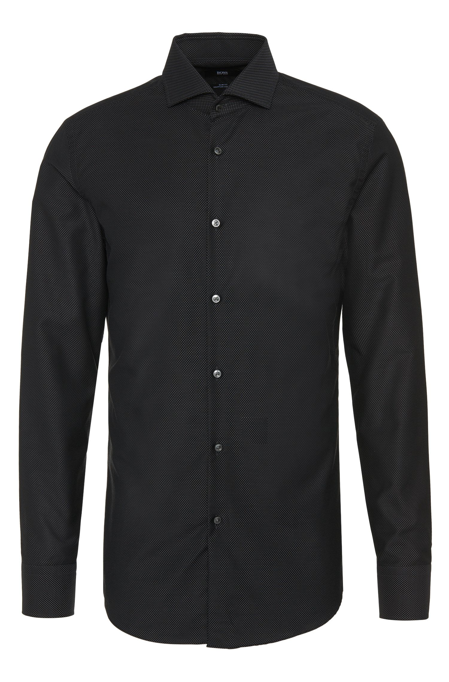 Finely patterned slim-fit shirt in pure cotton: 'Jerrin'