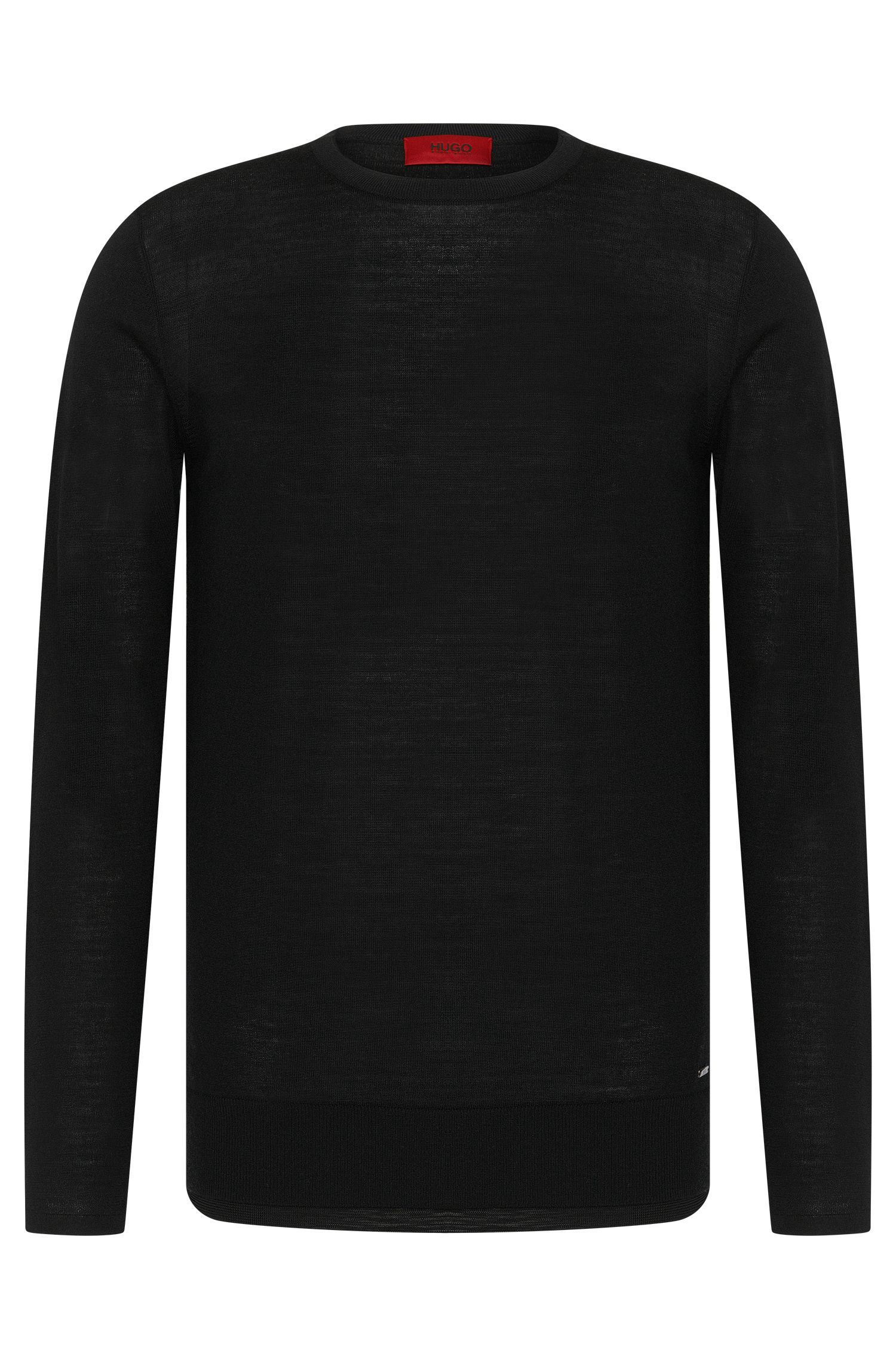 Regular-fit sweater in new-wool blend with double hems: 'Souble'