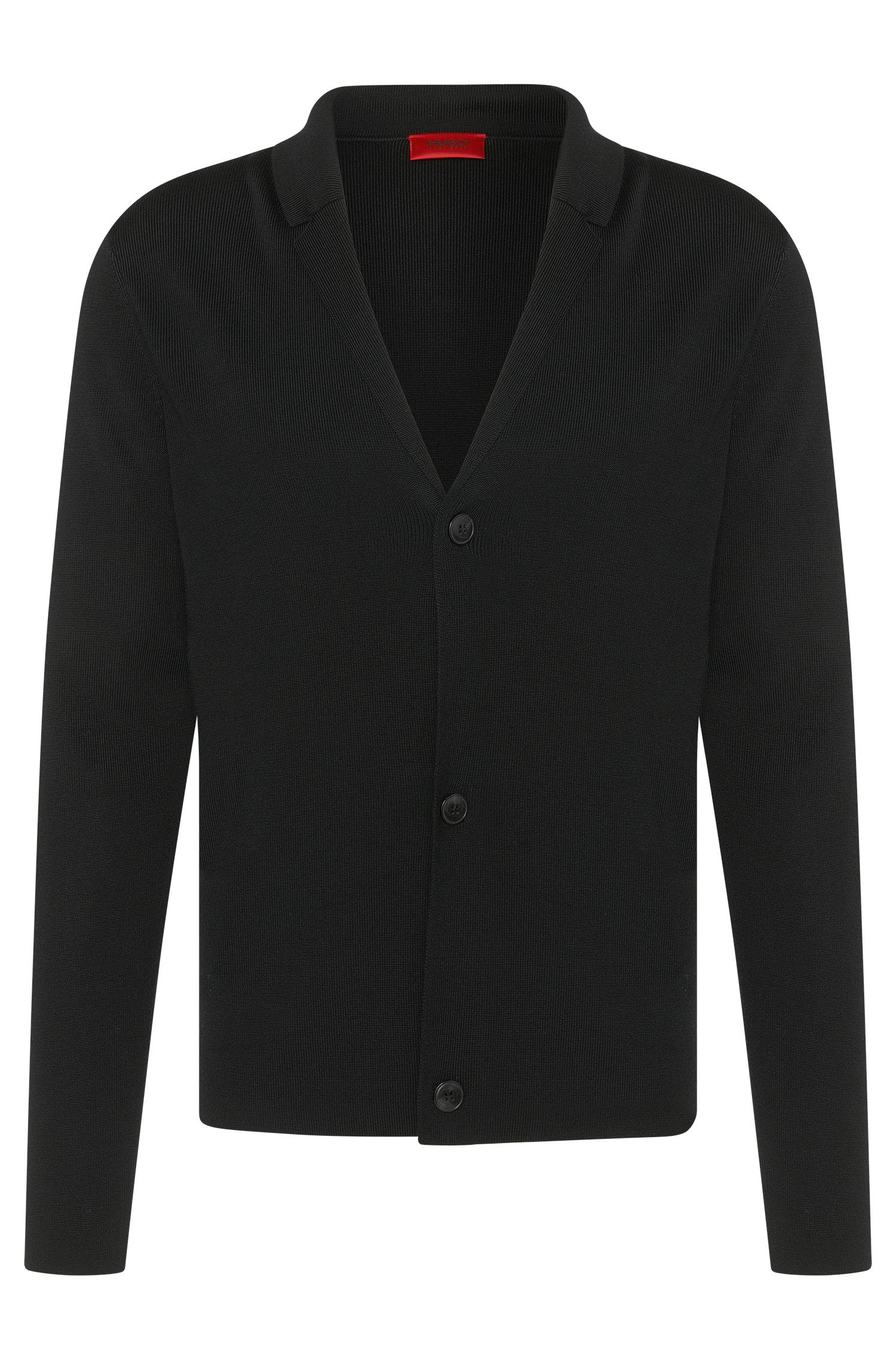 Regular-fit cardigan in viscose blend with wool and cotton: 'Suton'