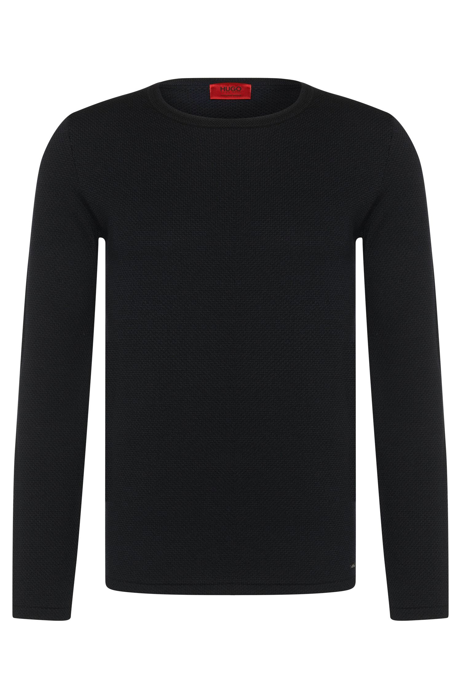 Loose-fit sweater in new wool with 2-tone jacquard pattern: 'Shevro'