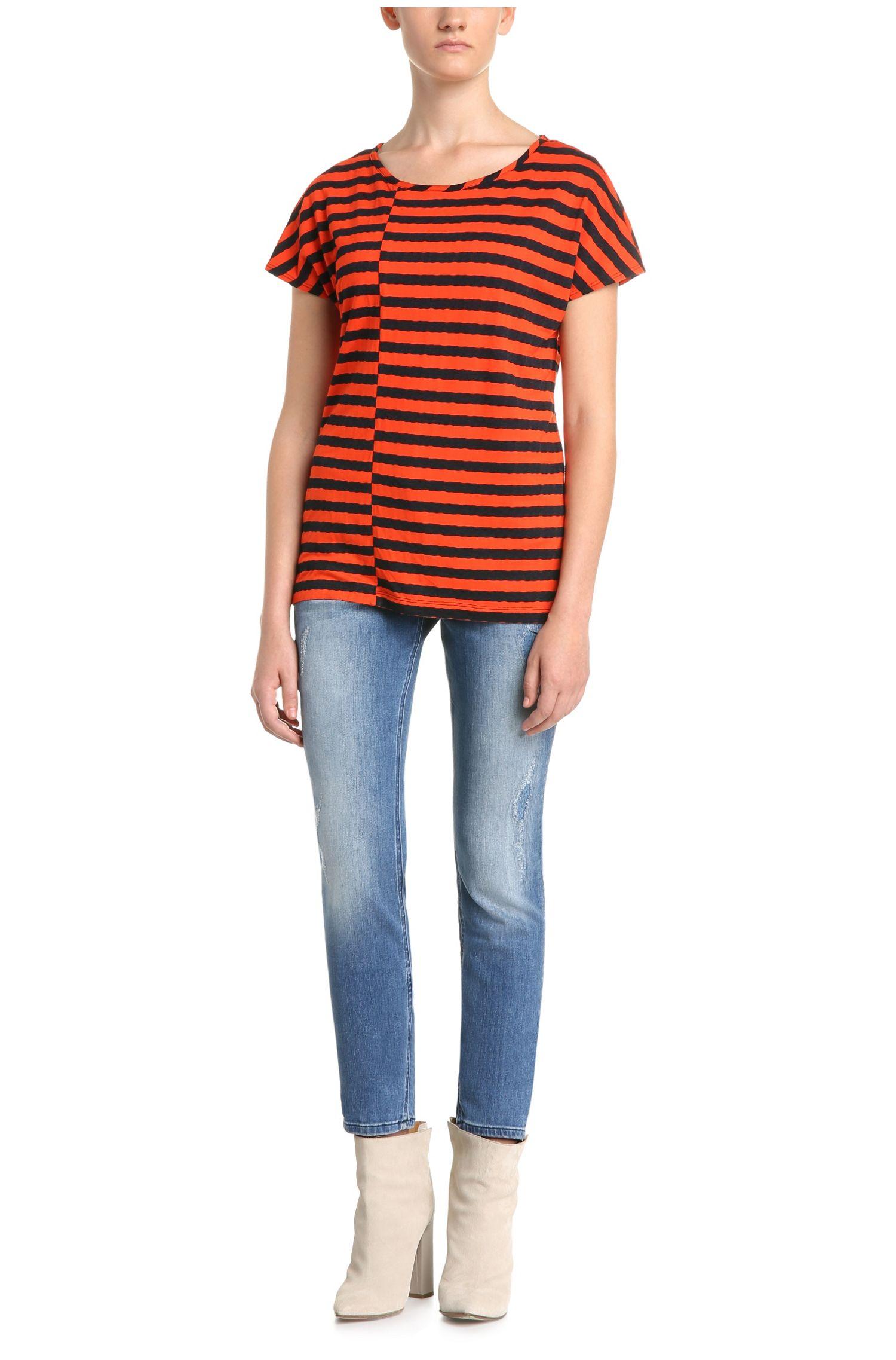 Gestreiftes Regular-Fit T-Shirt aus Viskose-Mix: ´Treifen`