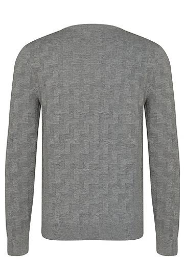 Strukturierter Loose-Fit Pullover aus Schurwolle und Baumwolle: 'Shevron', Grau