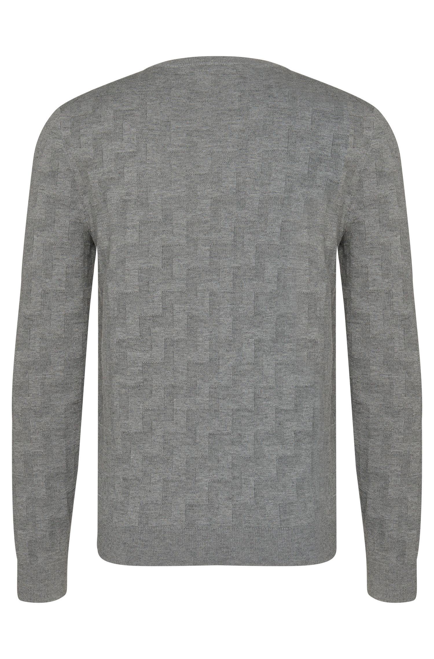 Strukturierter Loose-Fit Pullover aus Schurwolle und Baumwolle: 'Shevron'