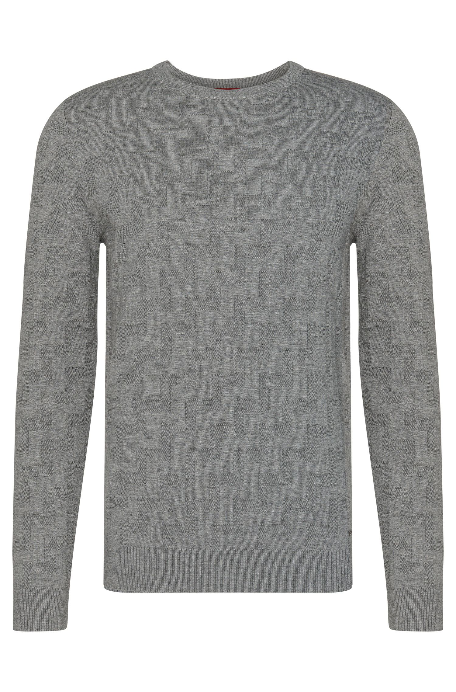 Textured loose-fit sweater in new wool and cotton: 'Shevron'