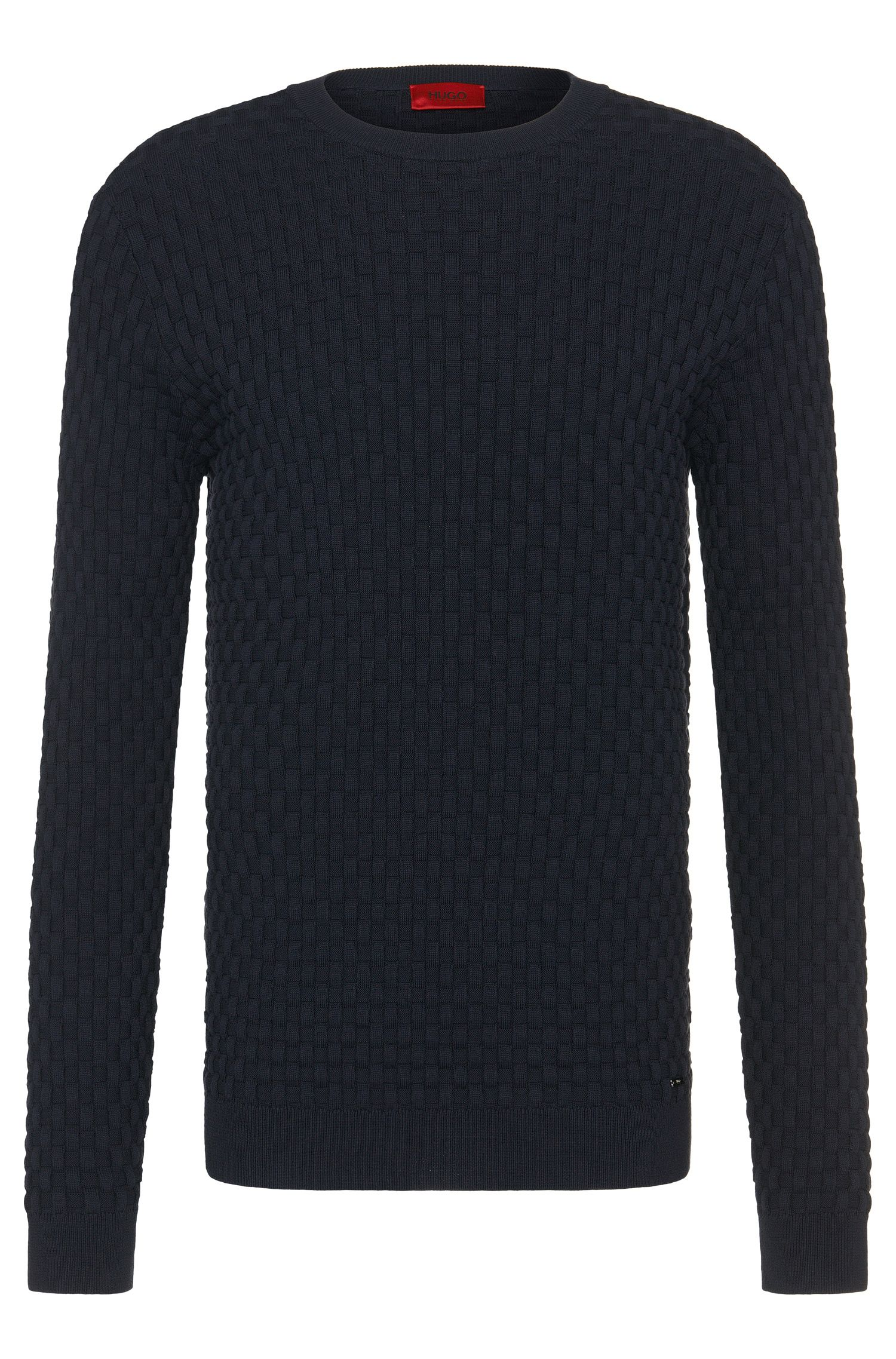 Regular-fit sweater in cotton with all-over texture: 'Subon'