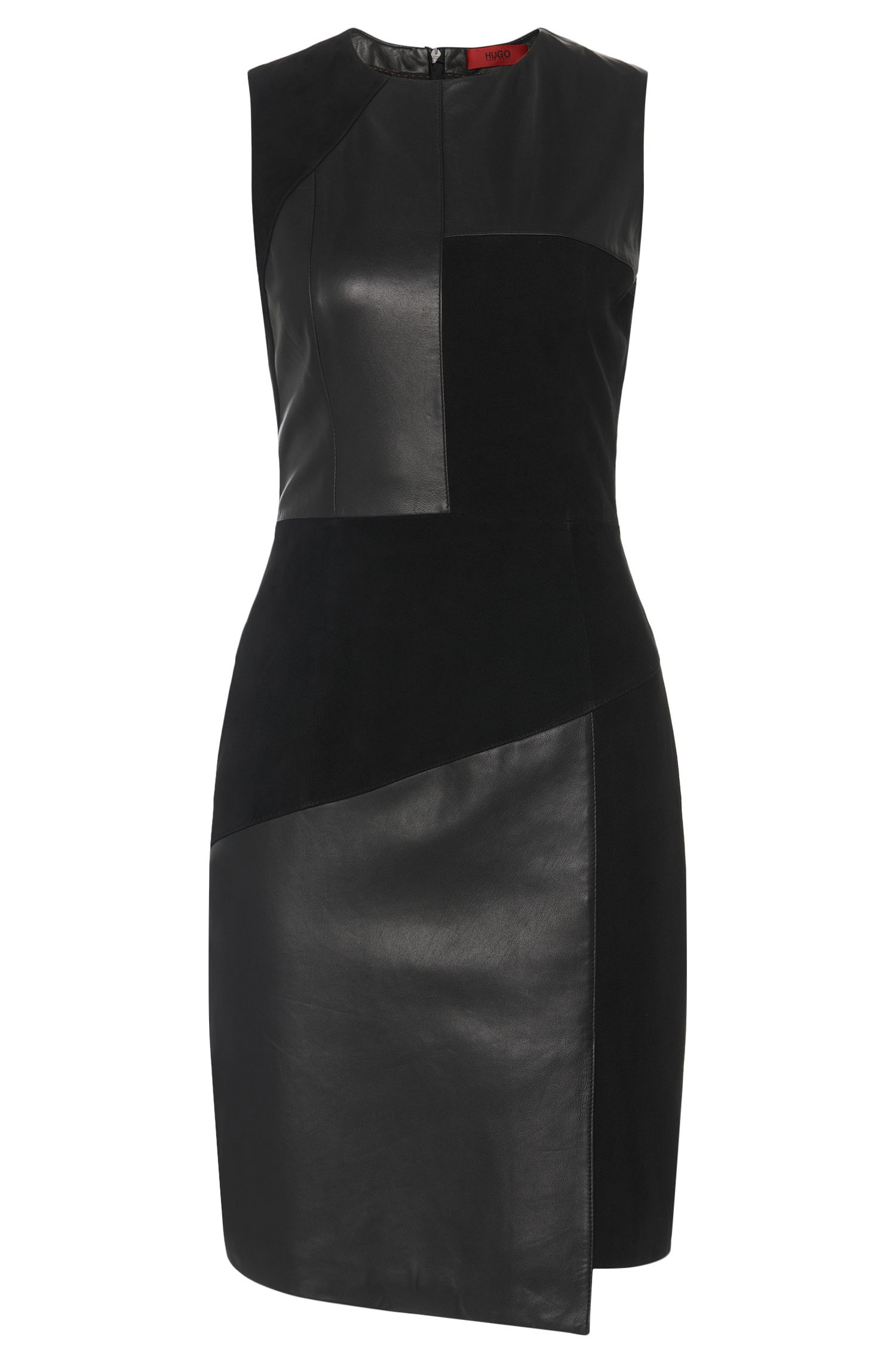 Leather dress in patchwork design with texture mix: 'Lisella'