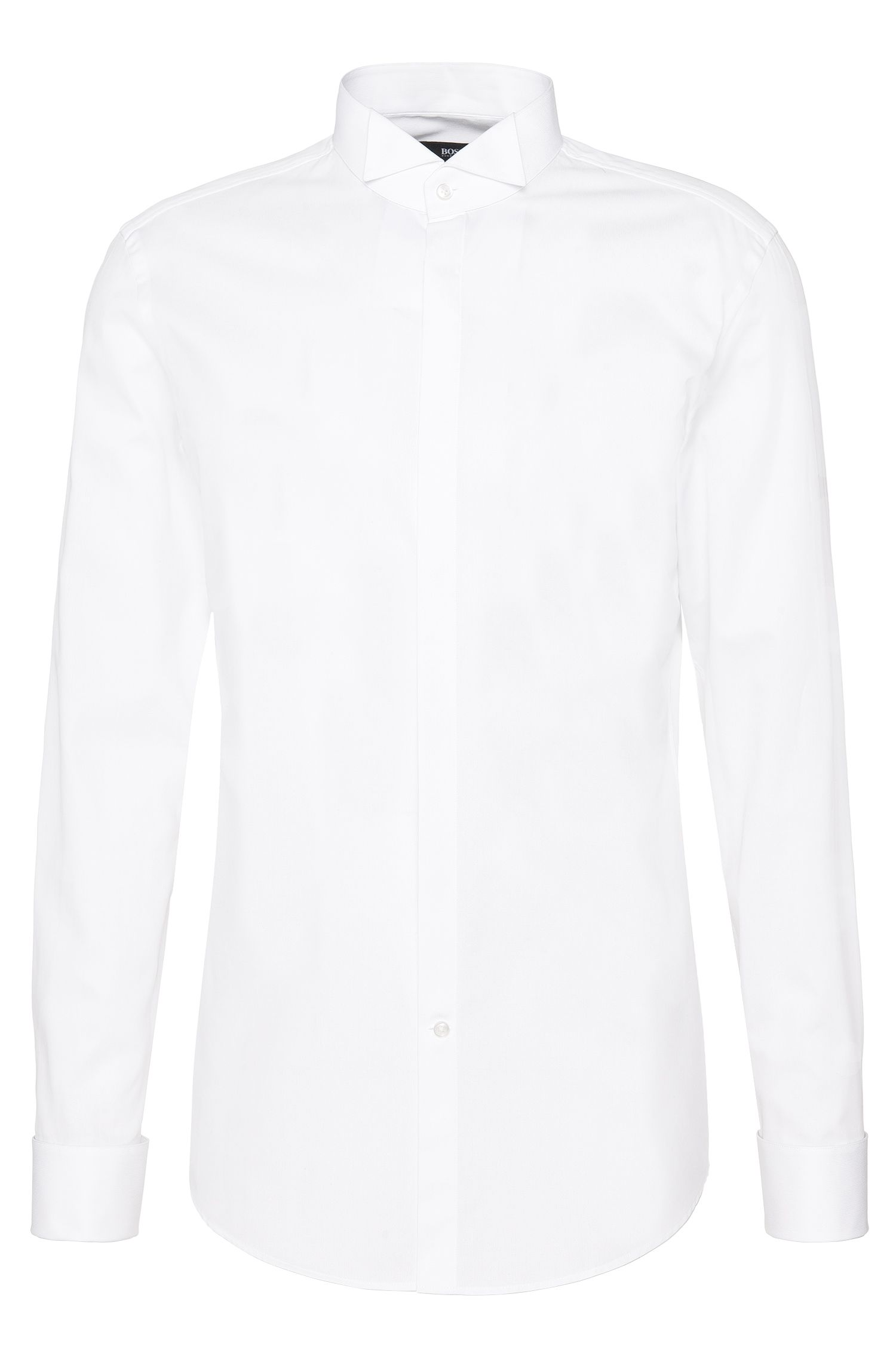 Slim-fit shirt in pure cotton with band collar and turn-back cuffs: 'Jillik'