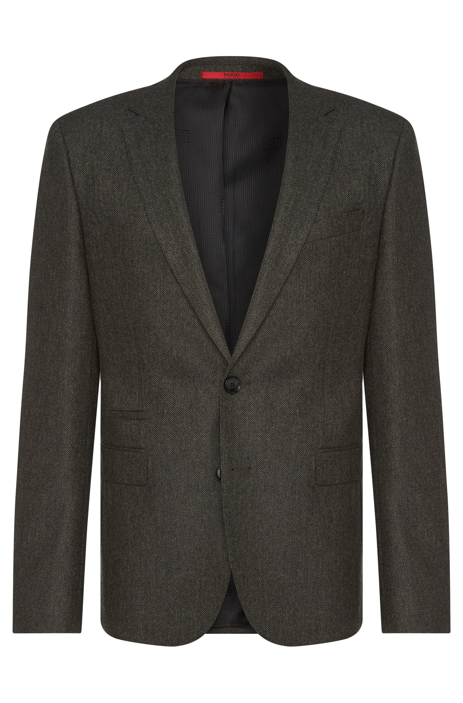 Extra slim-fit jacket with herringbone pattern: 'C-Ryan1'