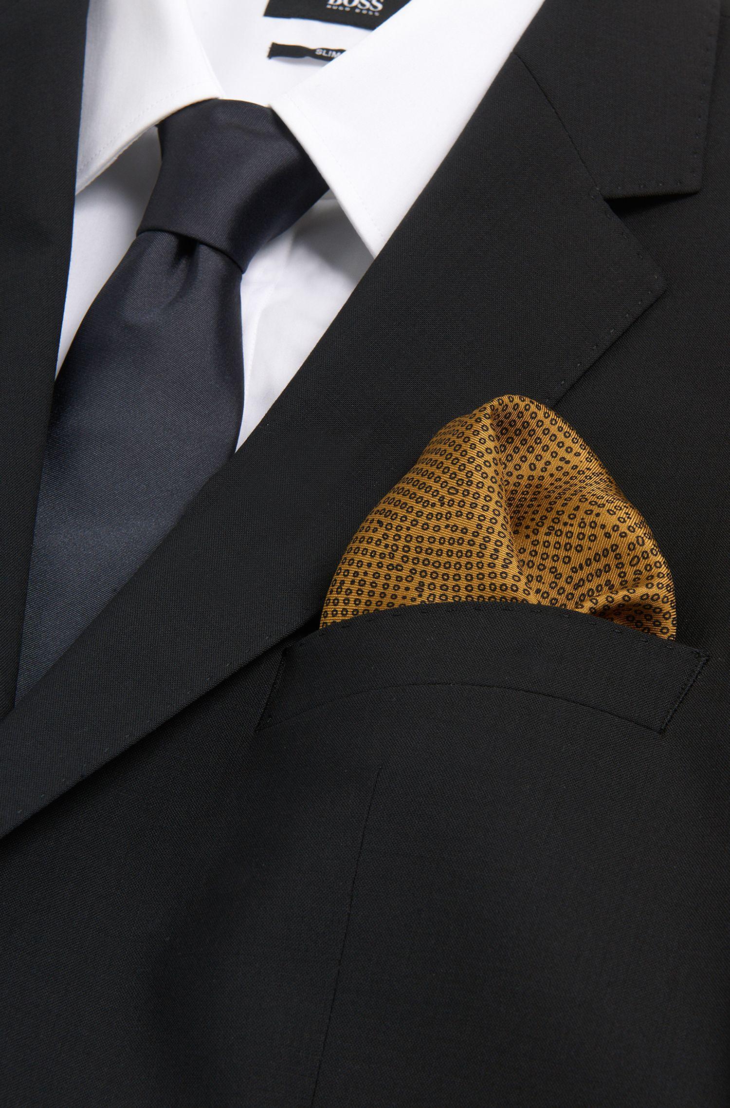 Pochette en soie à motif: «Pocket sq, cm. 33x33»