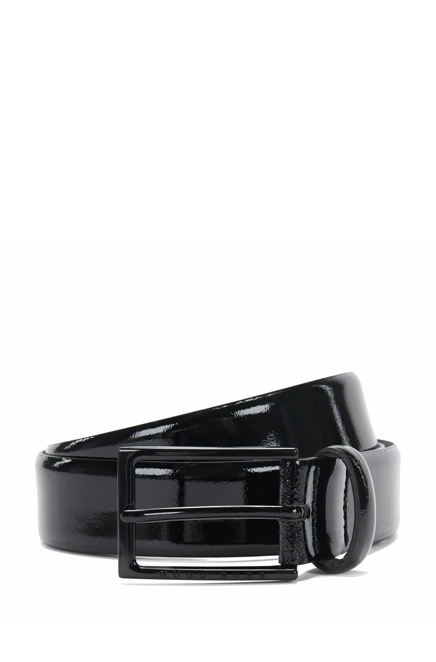 Cintura in pelle verniciata con fibbia ad ardiglione: 'Cirano_Sz30_pa'