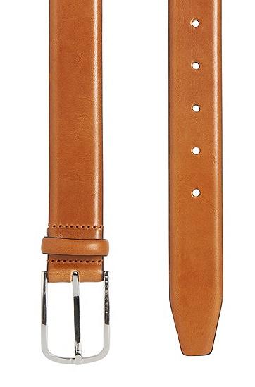 Gürtel aus Leder mit abgerundeter Metallschließe: 'Celino_Sz32_ltpl', Braun