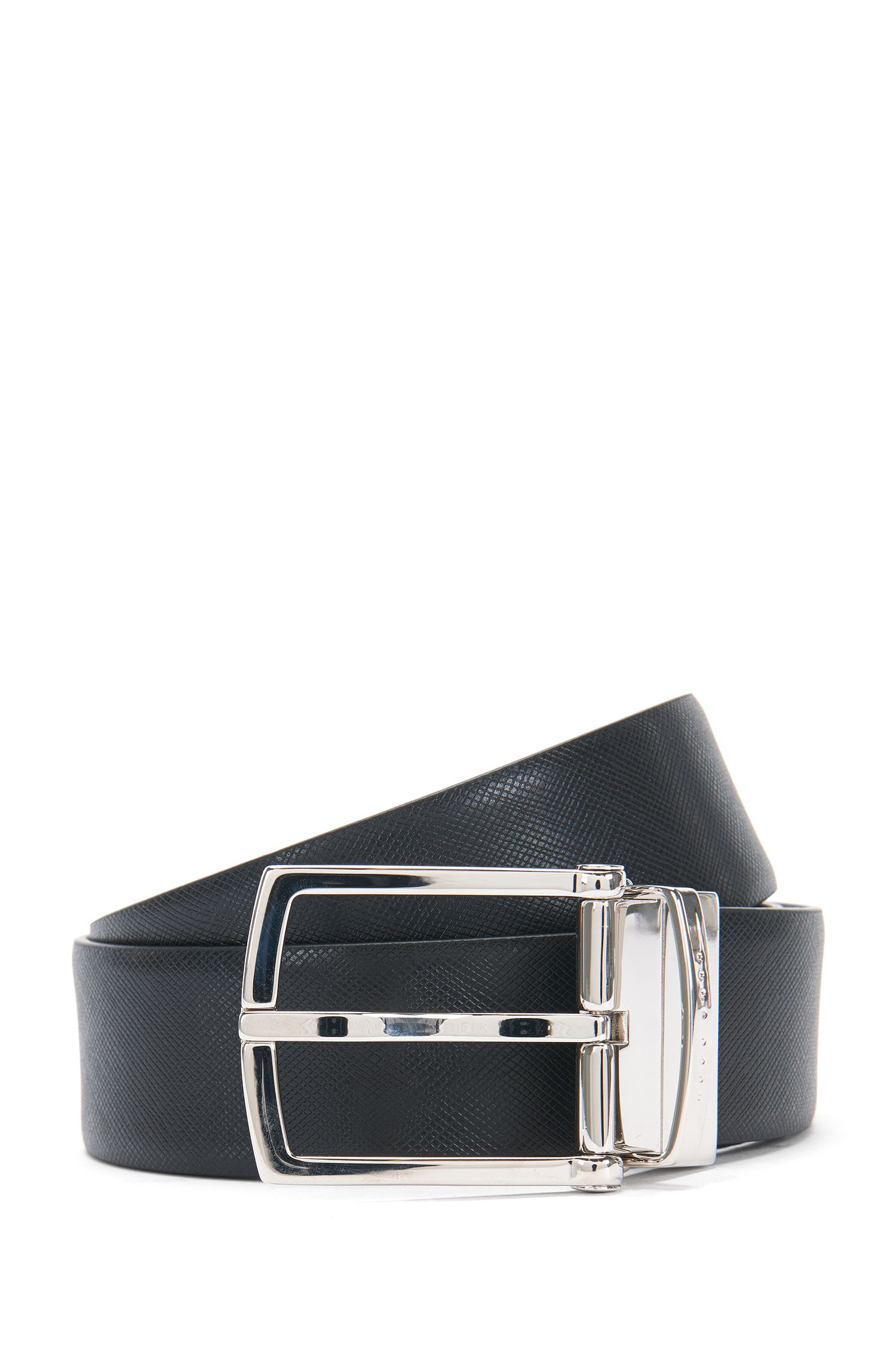Reversible leather belt with a mixture of colours and textures: 'Ontje_Or35_ps'