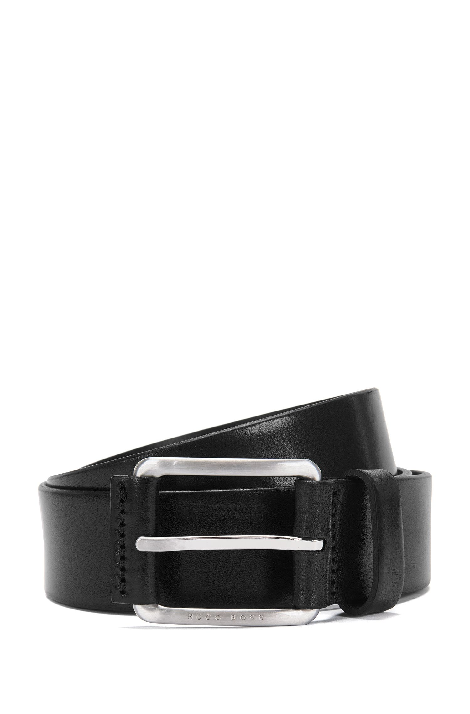 Leather belt with trim on the pin buckle: 'Scar_Sz35_ltpl'