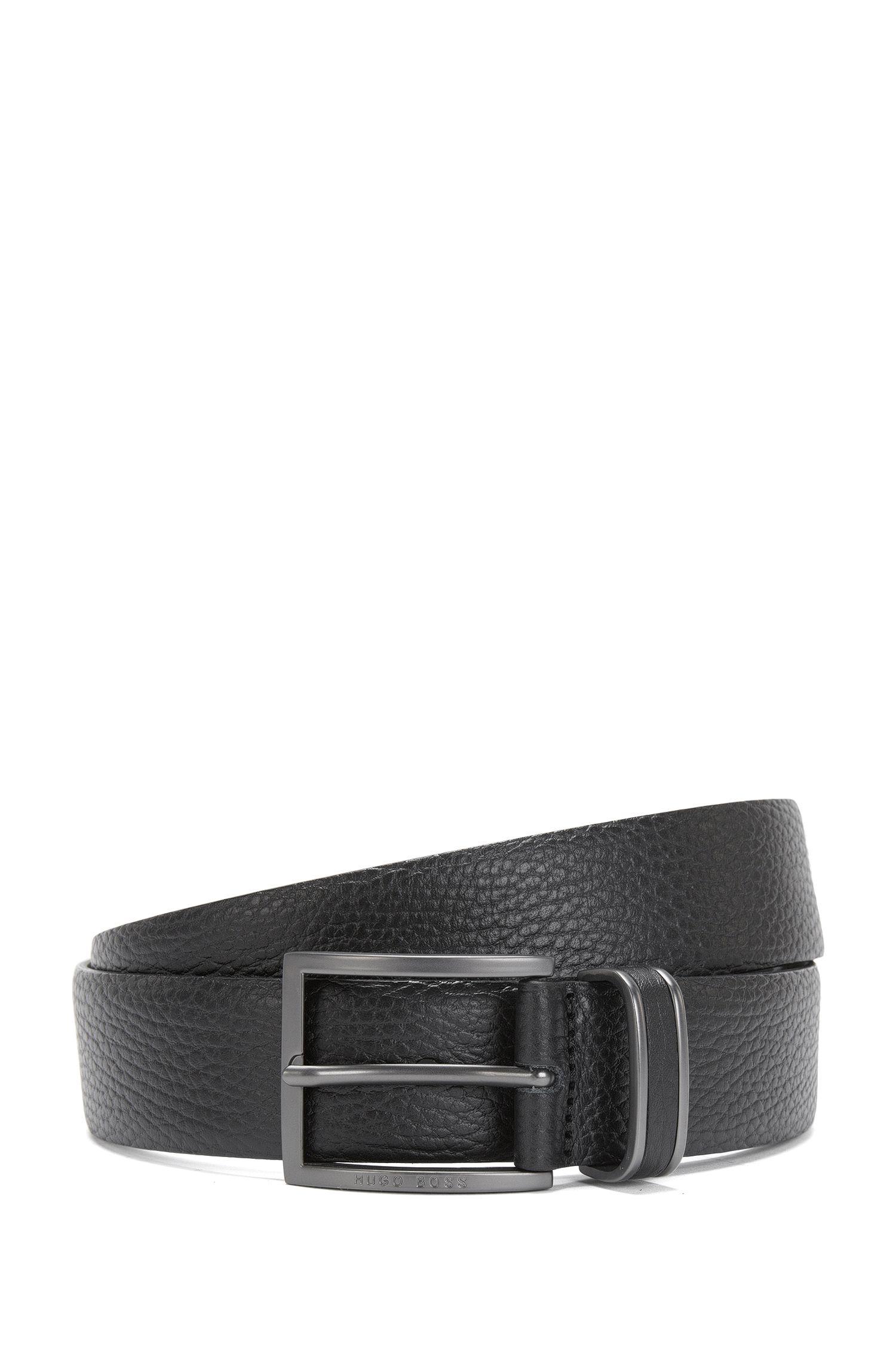 Belt in embossed leather with reinforced belt loop: 'Sopprin_Sz35_ltgr'
