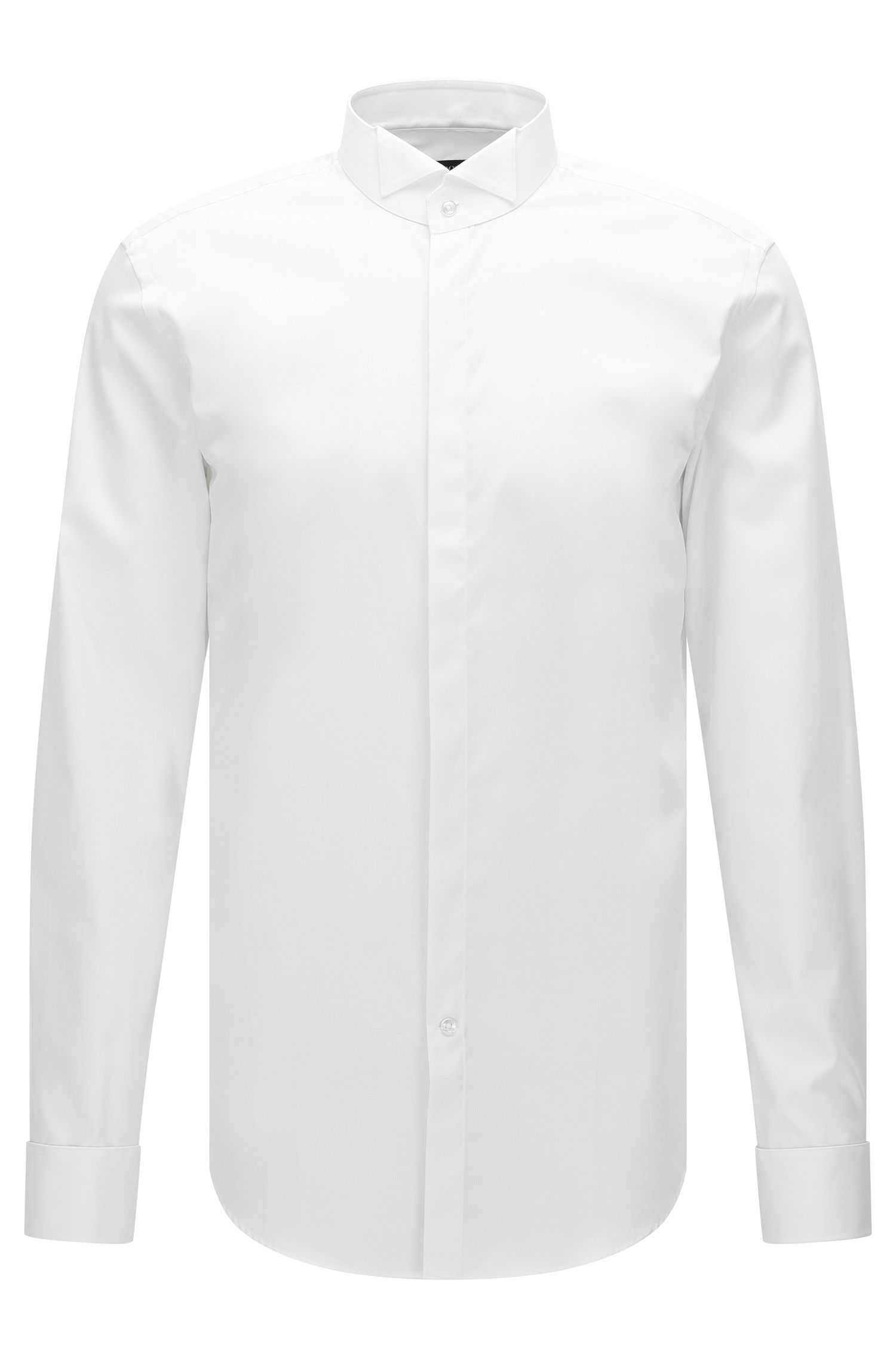 Slim-fit dress shirt in cotton with passementerie buttons: 'Jillik'
