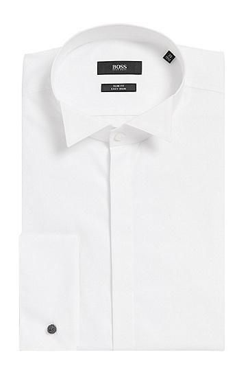 Slim-Fit Smokinghemd aus Baumwolle mit Posamentenknöpfen: 'Jillik', Weiß