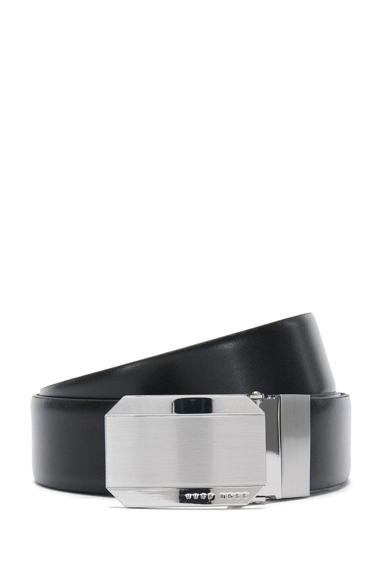 Wendegürtel aus Leder mit Verschluss in gebürsteter Optik: 'Otello_Or35_ps'
