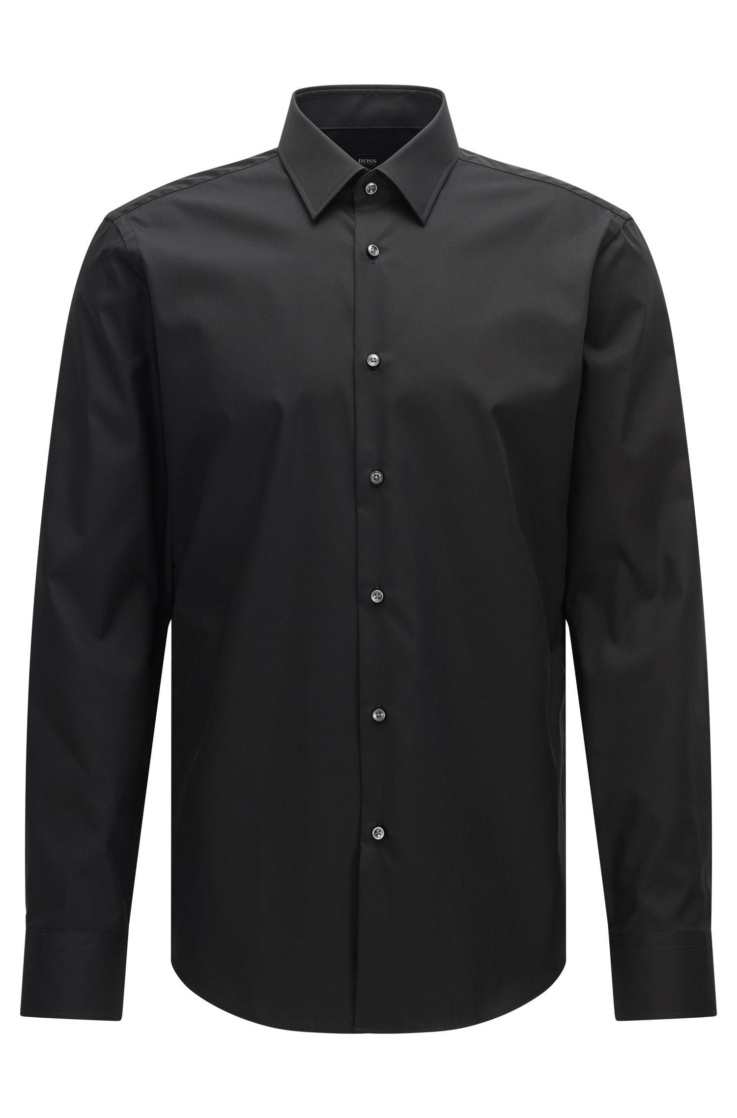Effen regular-fit overhemd van katoen: 'Enzo'