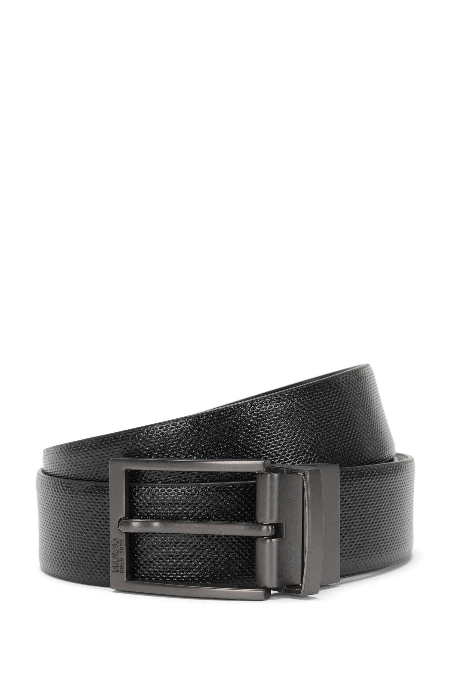 Reversible leather belt with different textures: 'C-Goralbo_Or35_ps'