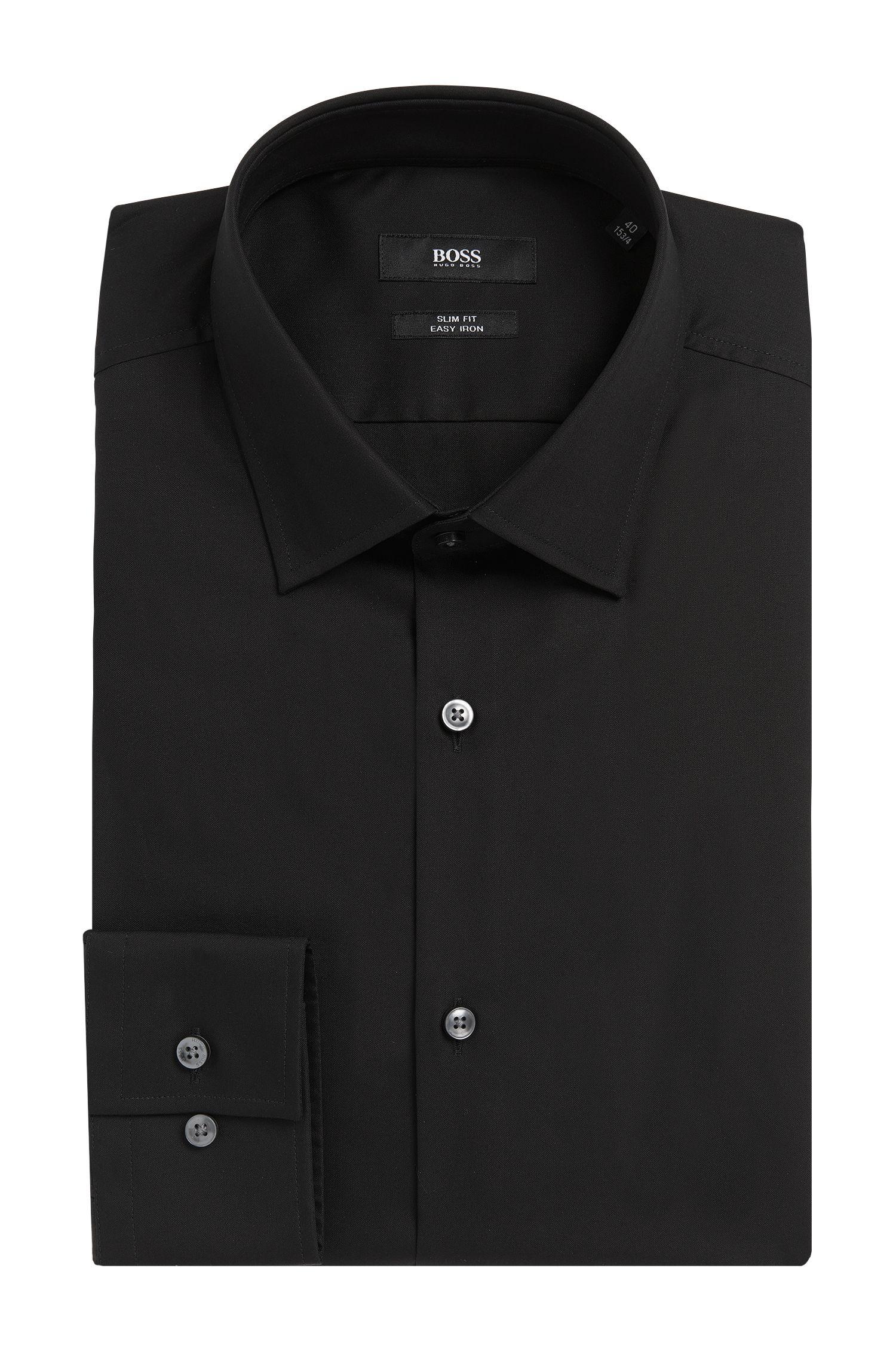 Unifarbenes Slim-Fit Hemd aus bügelleichter Baumwolle: 'Jenno'