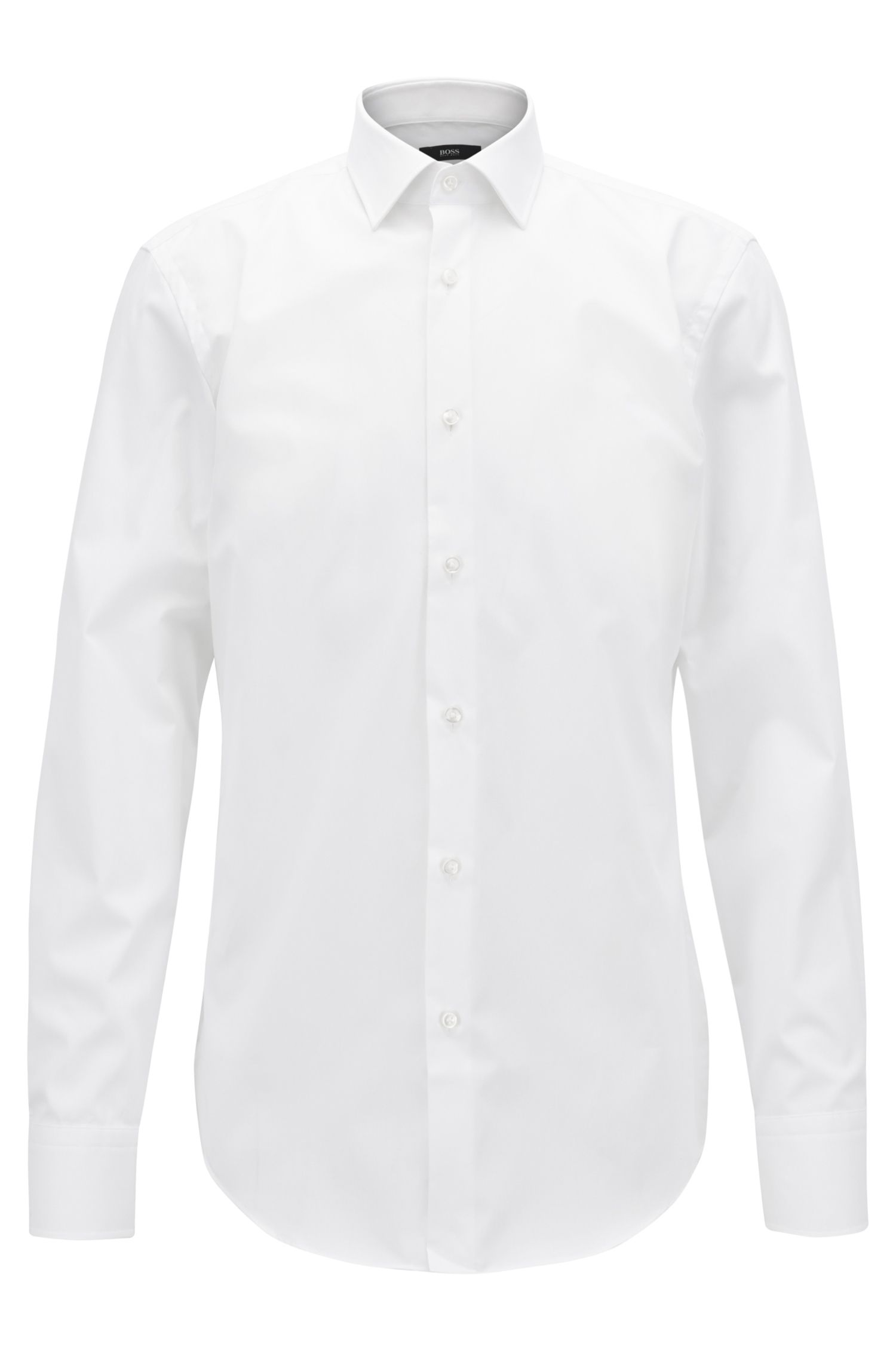 Plain slim fit shirt in easy-iron cotton: 'Jenno'