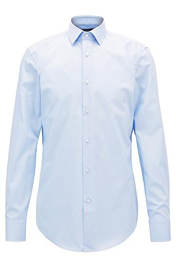 修身版棉府绸商务衬衫,  450_浅蓝色
