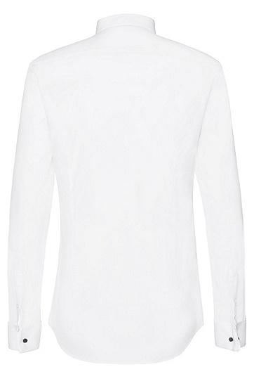 Slim-Fit Hemd aus reiner Baumwolle mit Biesenbesatz: 'Javer', Weiß
