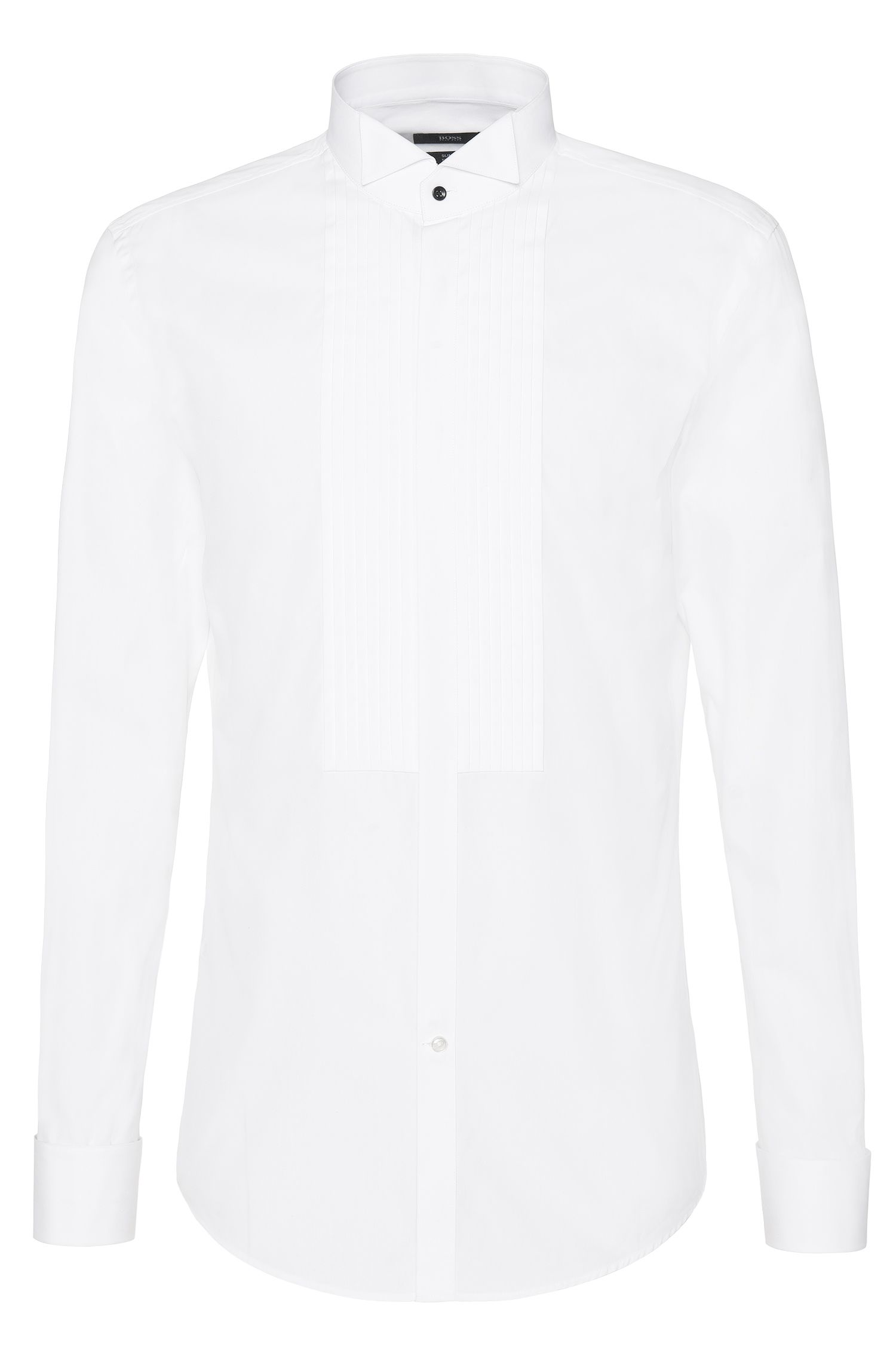 Slim-fit shirt in pure cotton with pintuck trim: 'Javer'