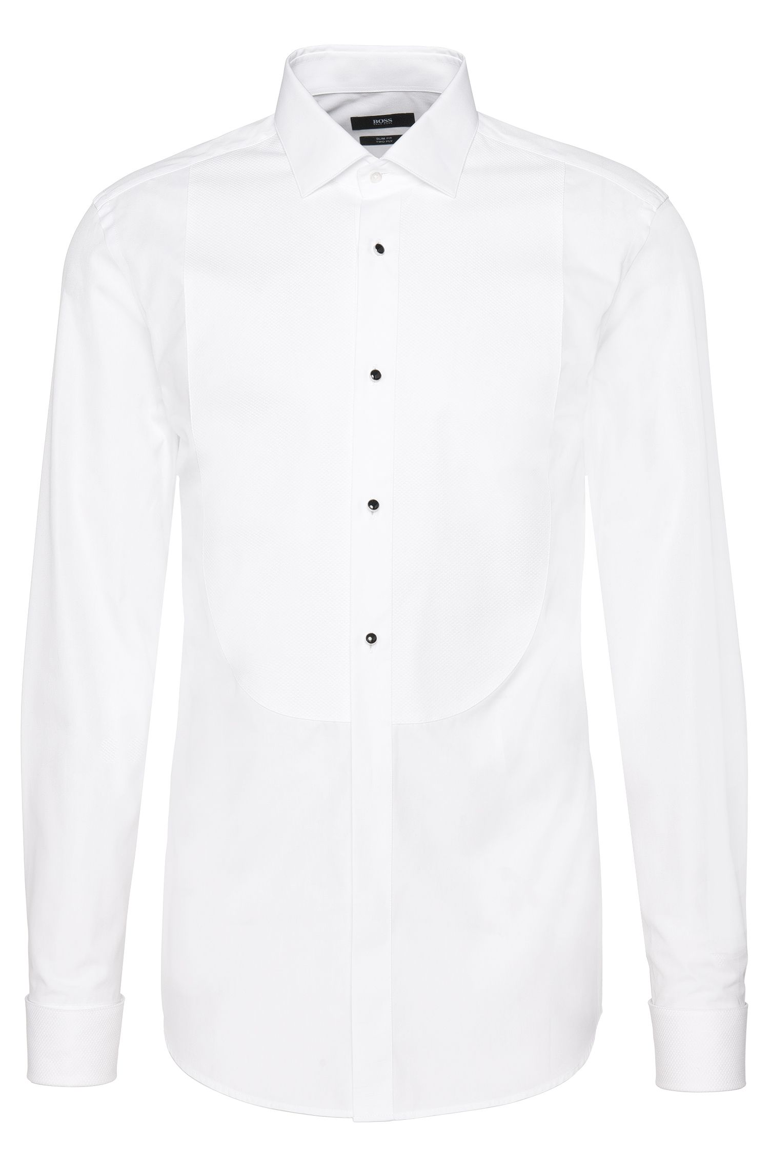 Slim-fit shirt in two-ply cotton with textured Ascot tie insert: 'Jant'