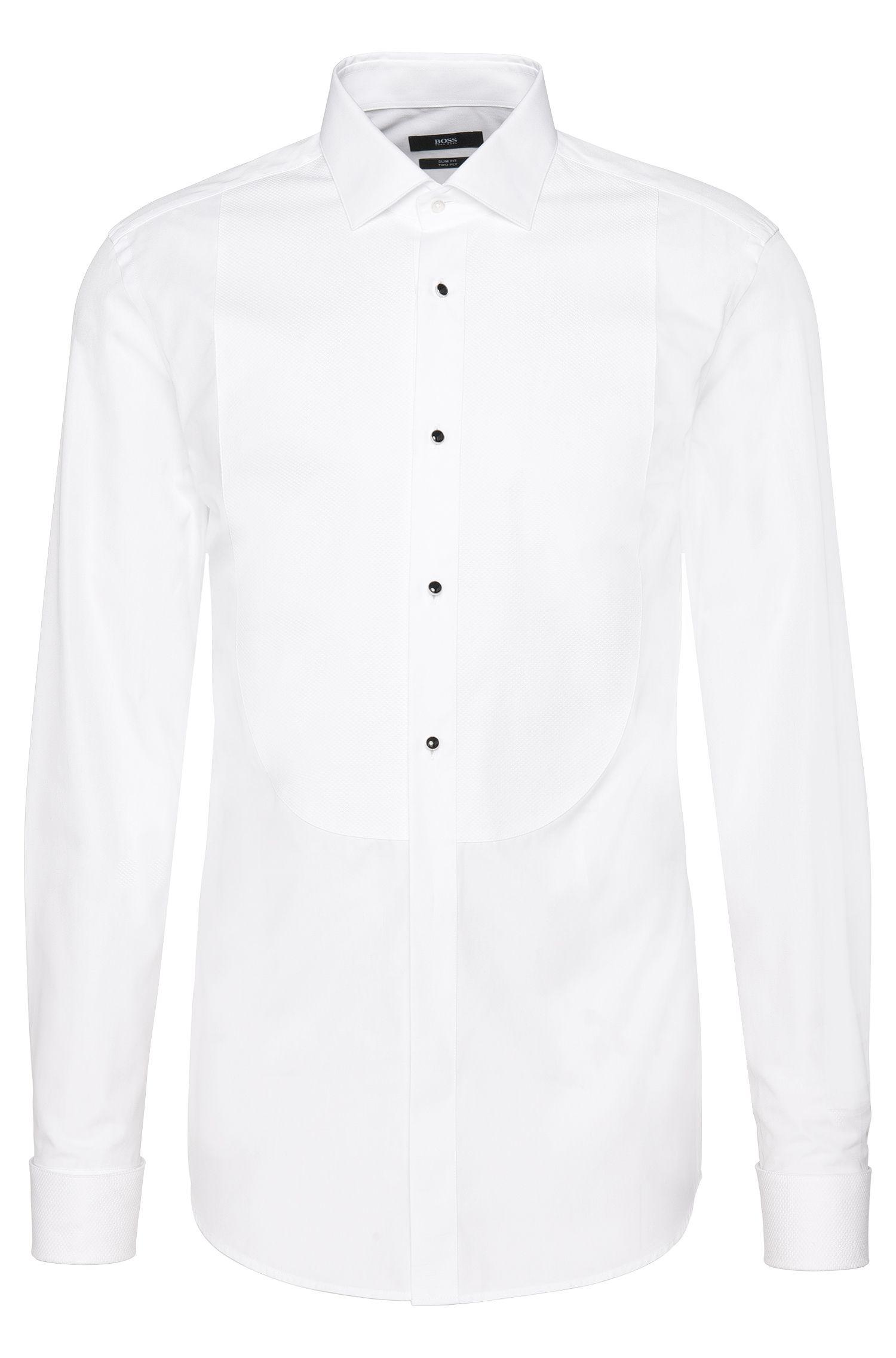 Camisa slim fit en algodón con pechera con textura: 'Jant'