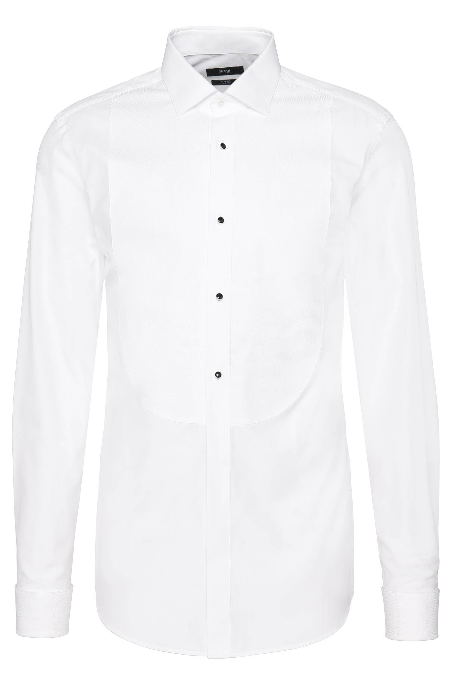 Slimfit shirt in twoply cotton with textured Ascot tie insert `Jant`