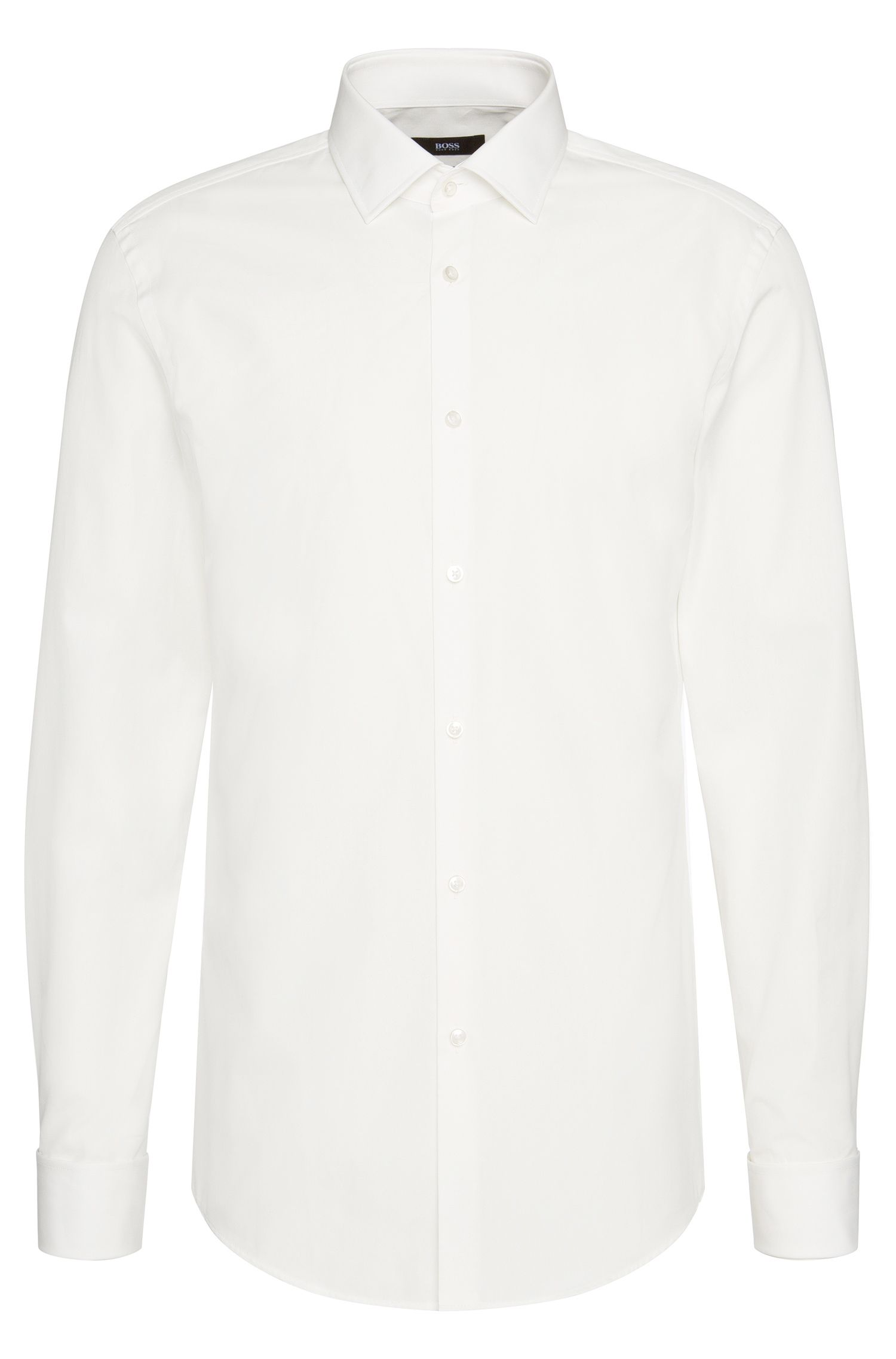 Slim-fit shirt in cotton with turn-back cuffs: 'Jacques'