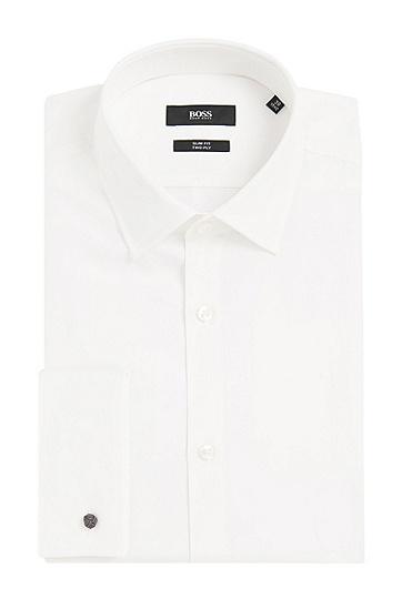 Slim-Fit Hemd aus Baumwolle mit Umschlagmanschetten: 'Jacques', Natur