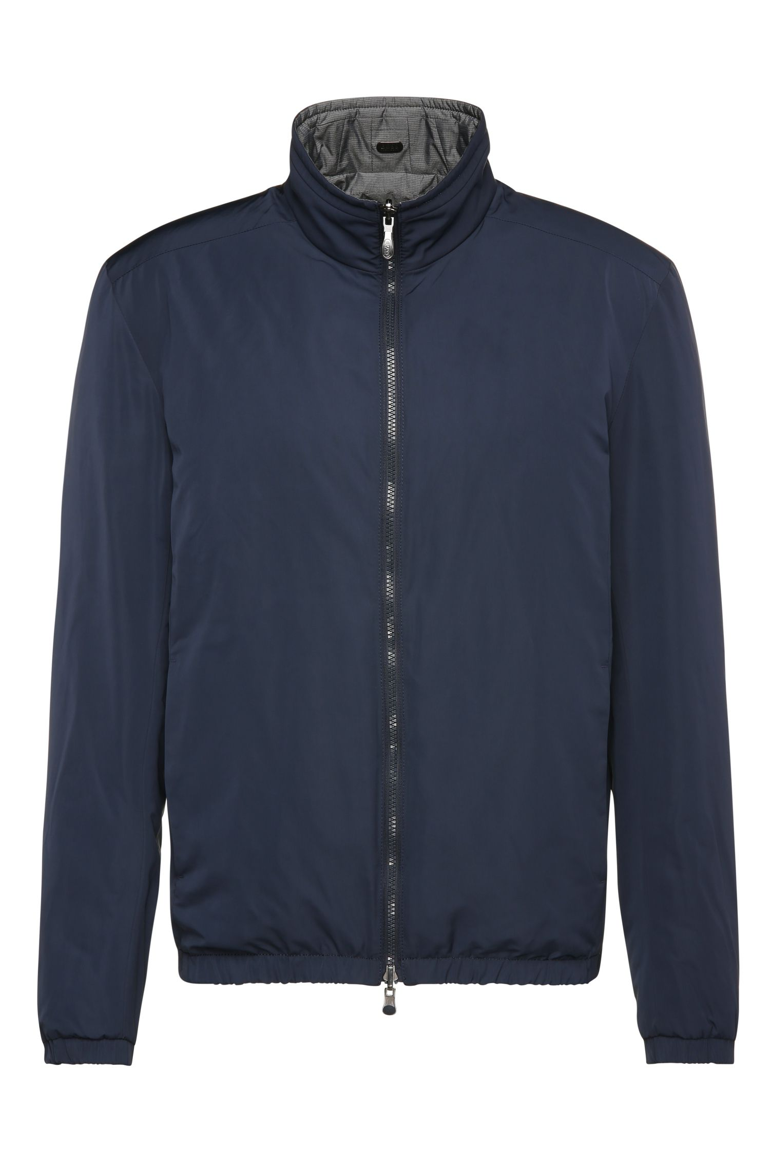 Regular-fit reversible bomber jacket in material blend: 'Jeversible'