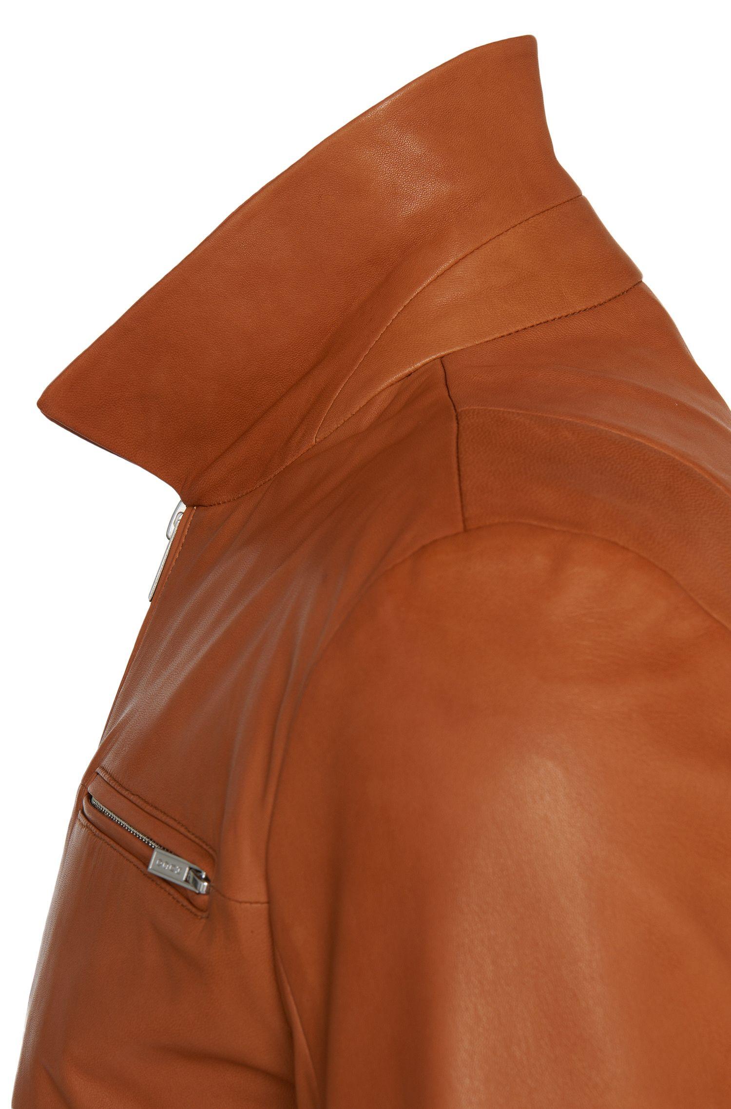 Blouson en cuir Slim Fit doté d'un col à rabattre: «Lantik»