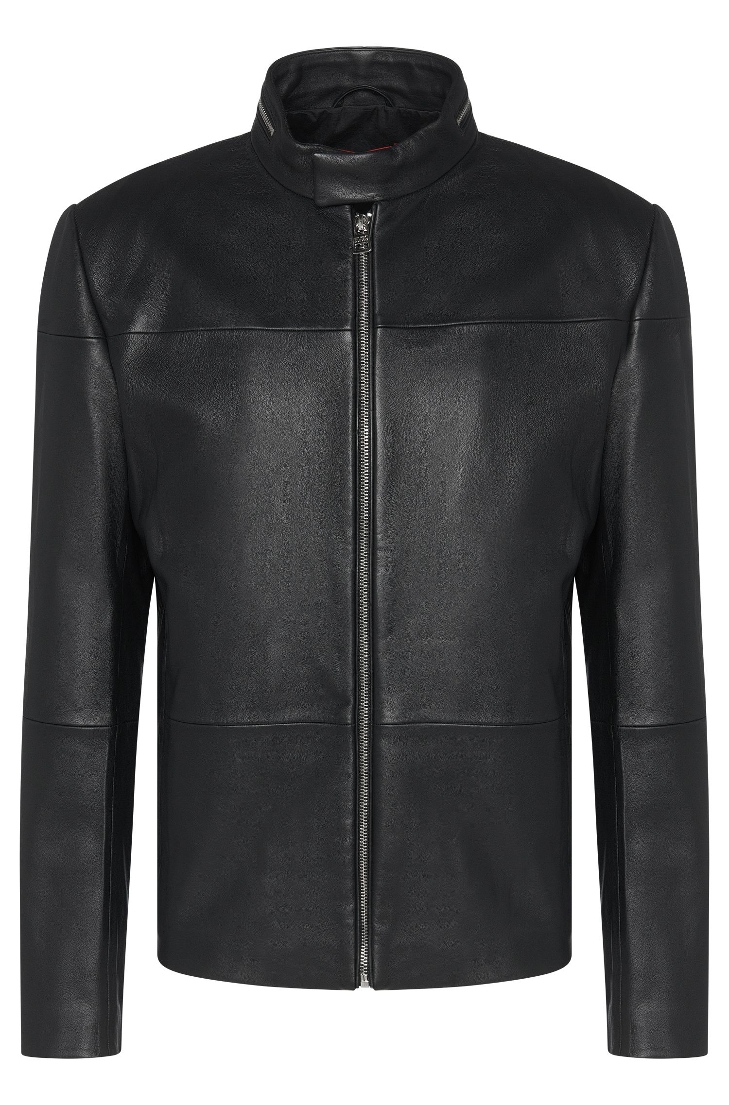 Slim-fit biker-style leather jacket: 'Lefox'
